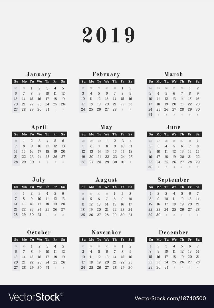 2019 Year Calendar Vertical Design Royalty Free Vector Image