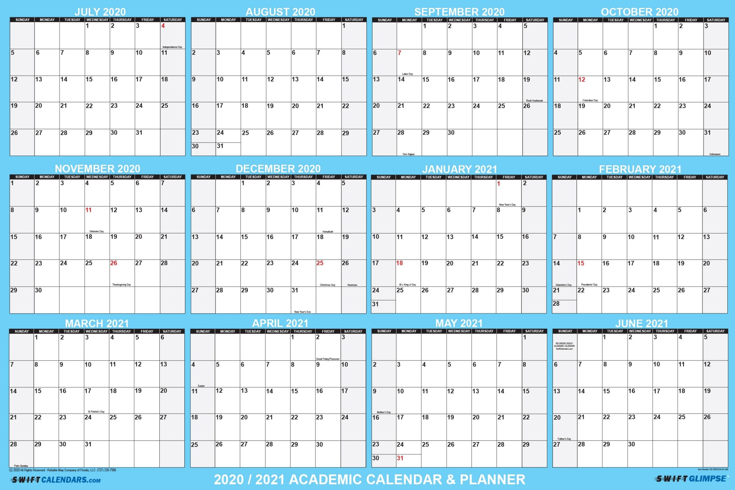 "2020 2021 Academic Planning Calendar 48"" X 72"" Swiftglimpse"