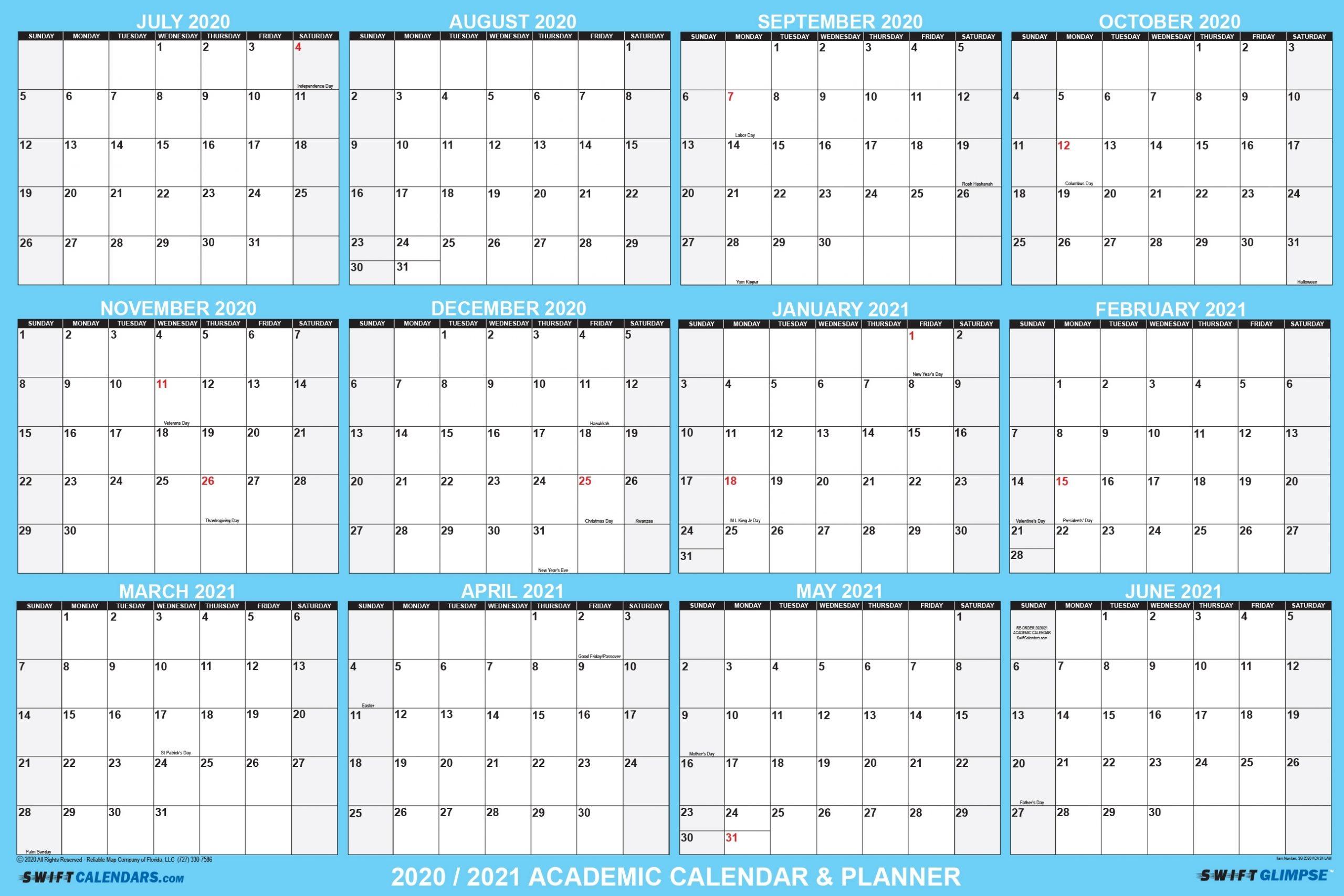 "2020 2021 Academic Planning Calendar 48"" X 72"" Swiftglimpse"