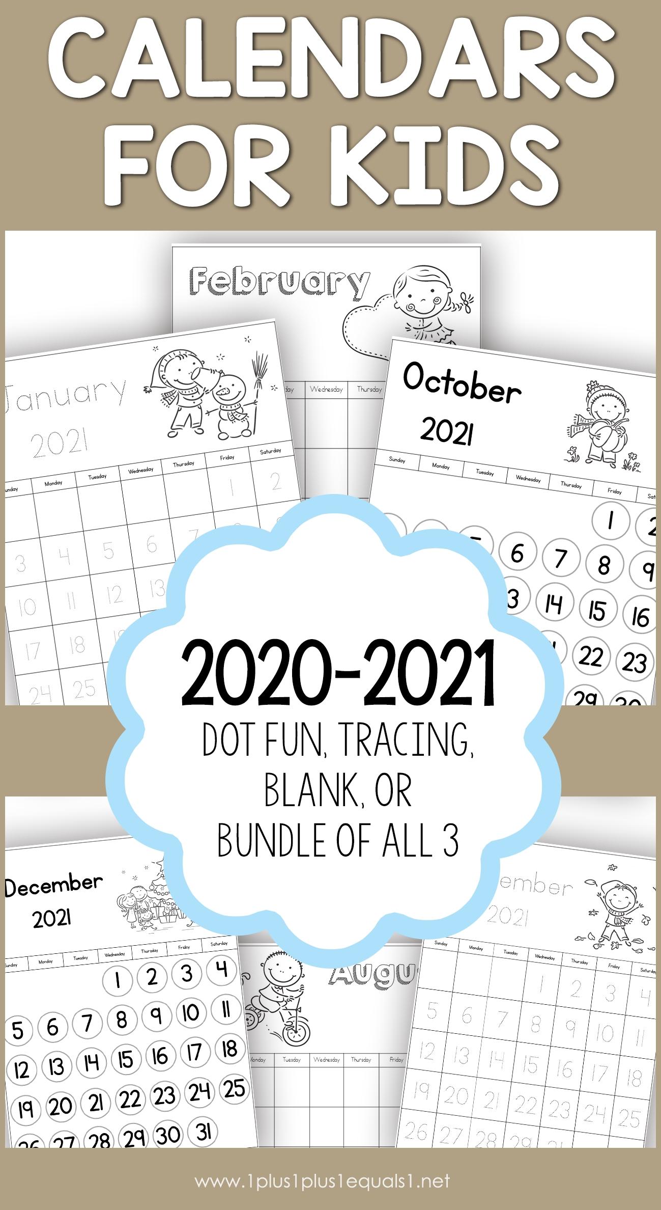 2020-2021 Calendars For Kids - 1+1+1=1