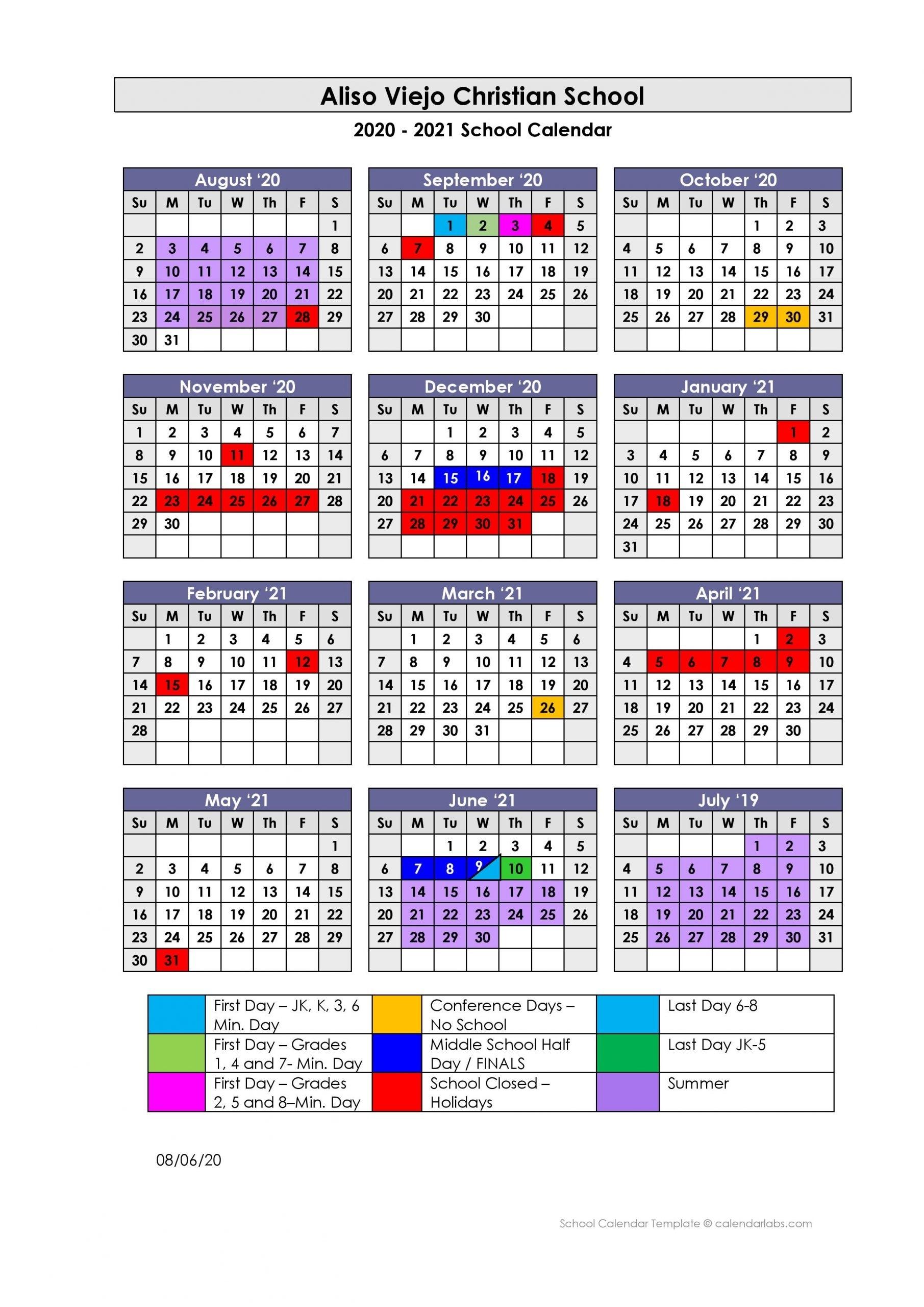 2020 - 2021 School Calendar - Aliso Viejo Christian School