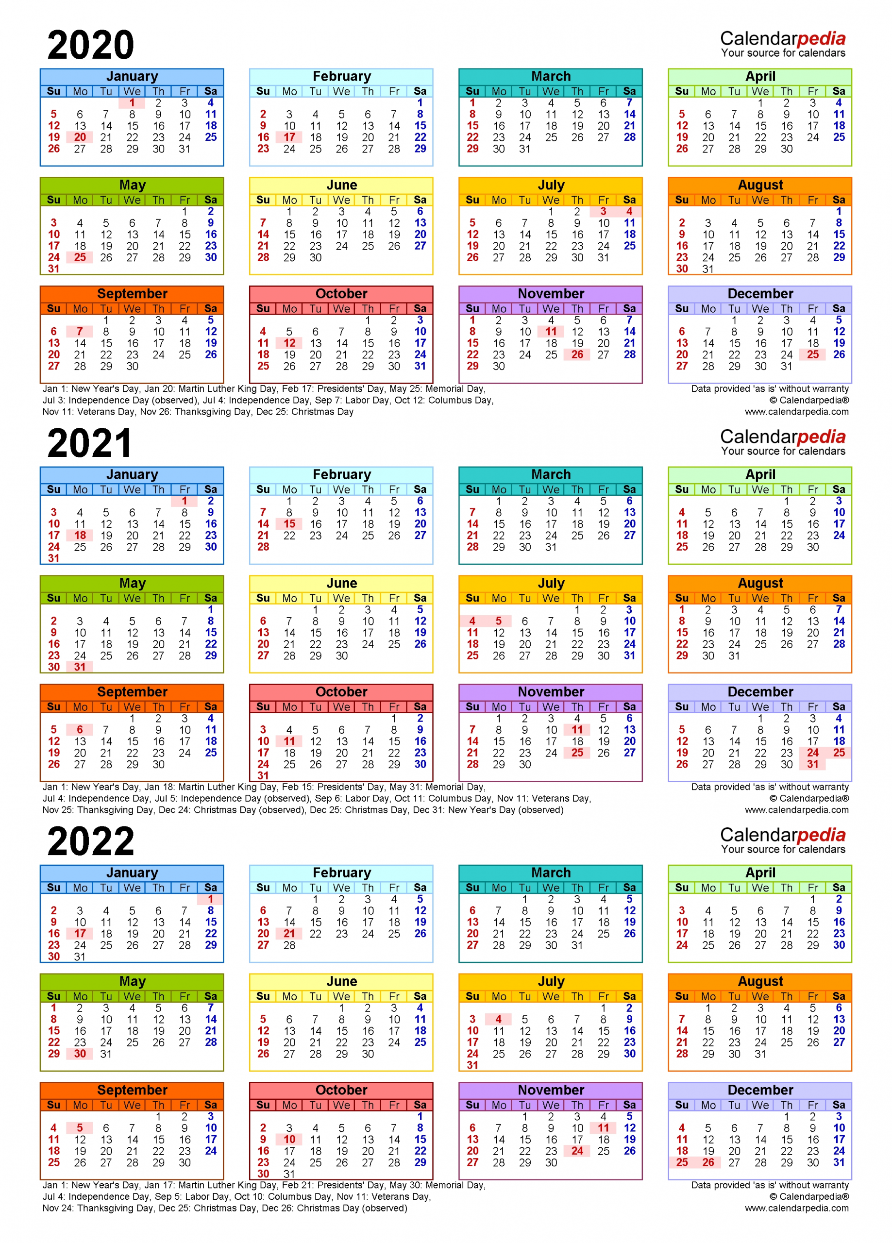 2020-2022 Three Year Calendar - Free Printable Pdf Templates