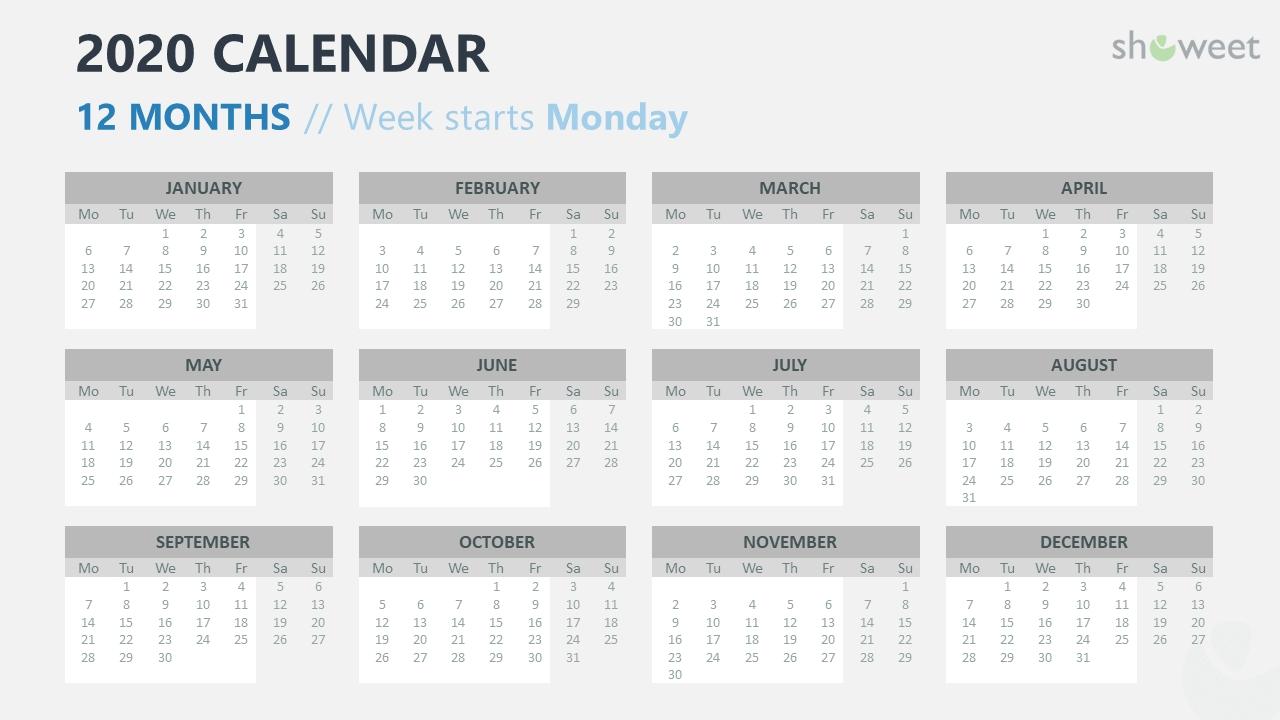 2020 Calendar For Powerpoint And Google Slides - Showeet