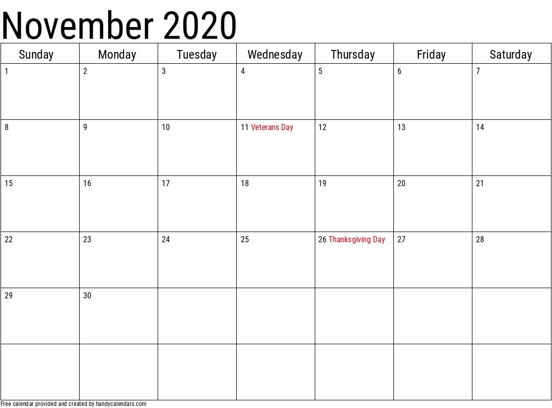 2020 November Calendars - Handy Calendars
