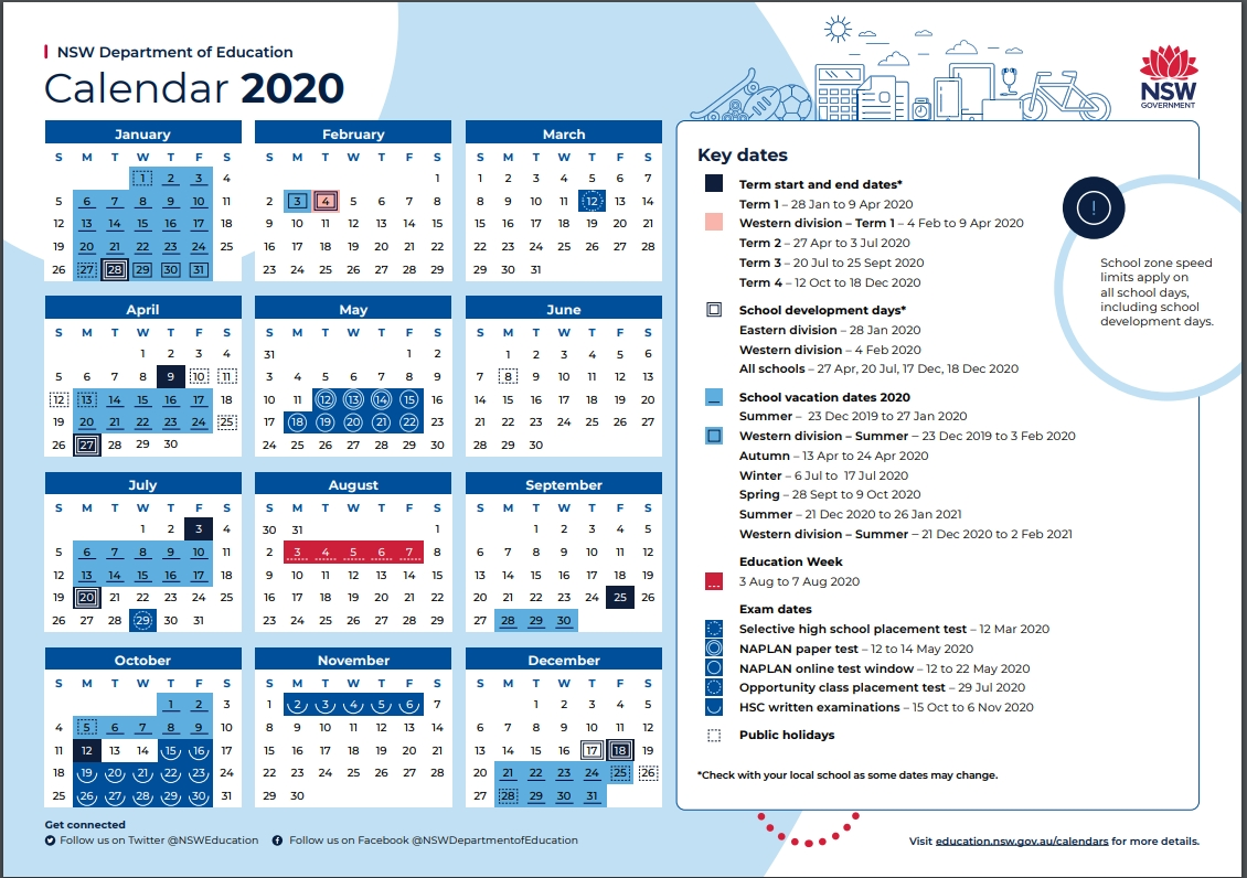 2020 School Calendar - Tarrawanna Public School