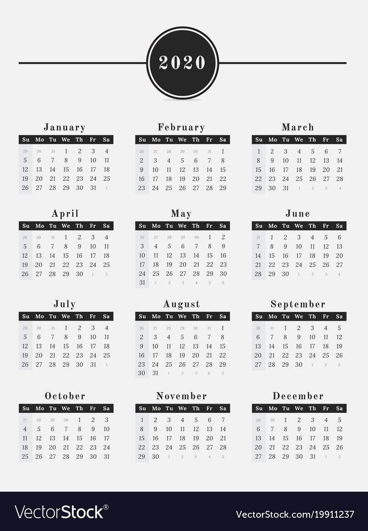 2020 Year Calendar Vertical Design Royalty Free Vector Image