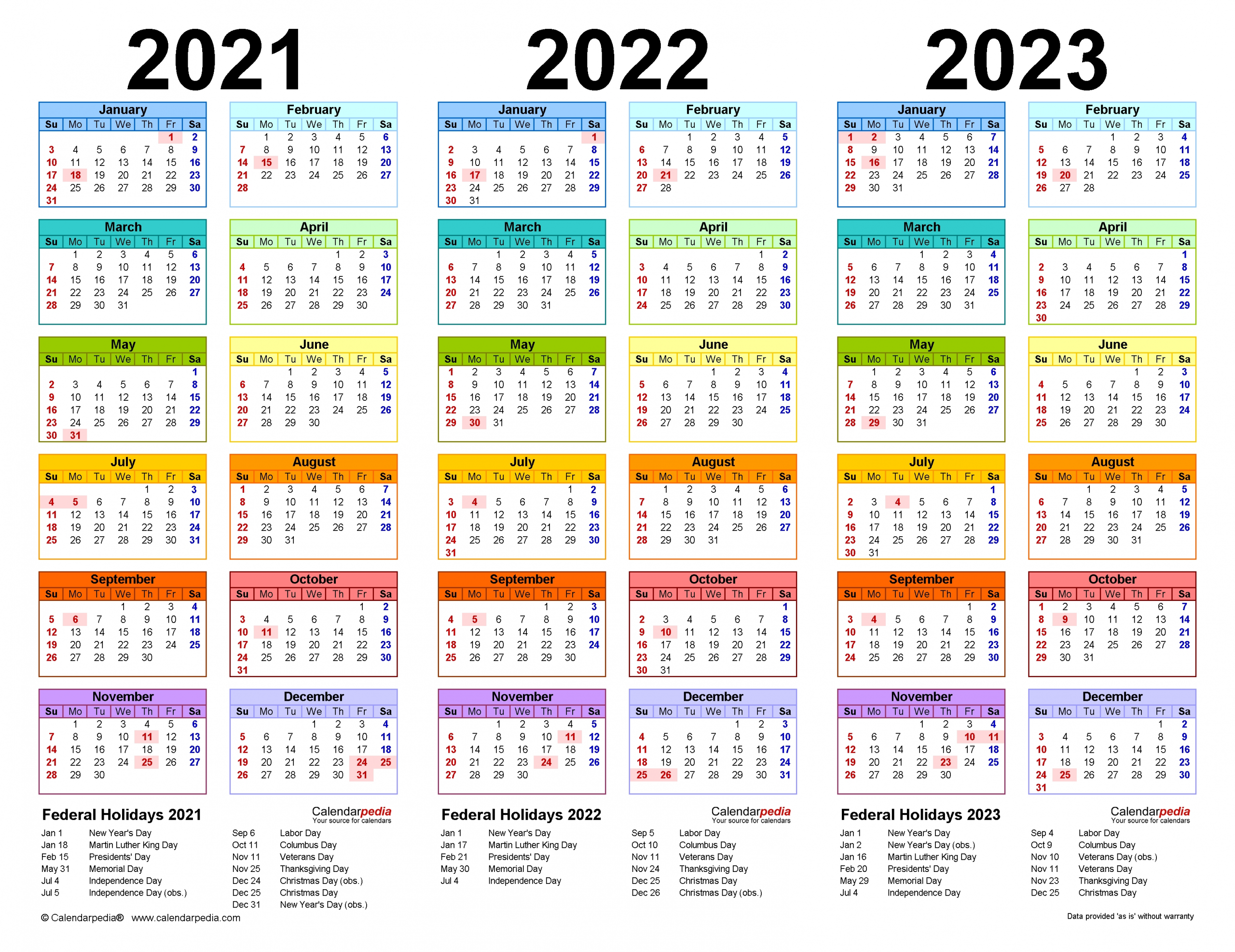 2021-2023 Three Year Calendar - Free Printable Pdf Templates