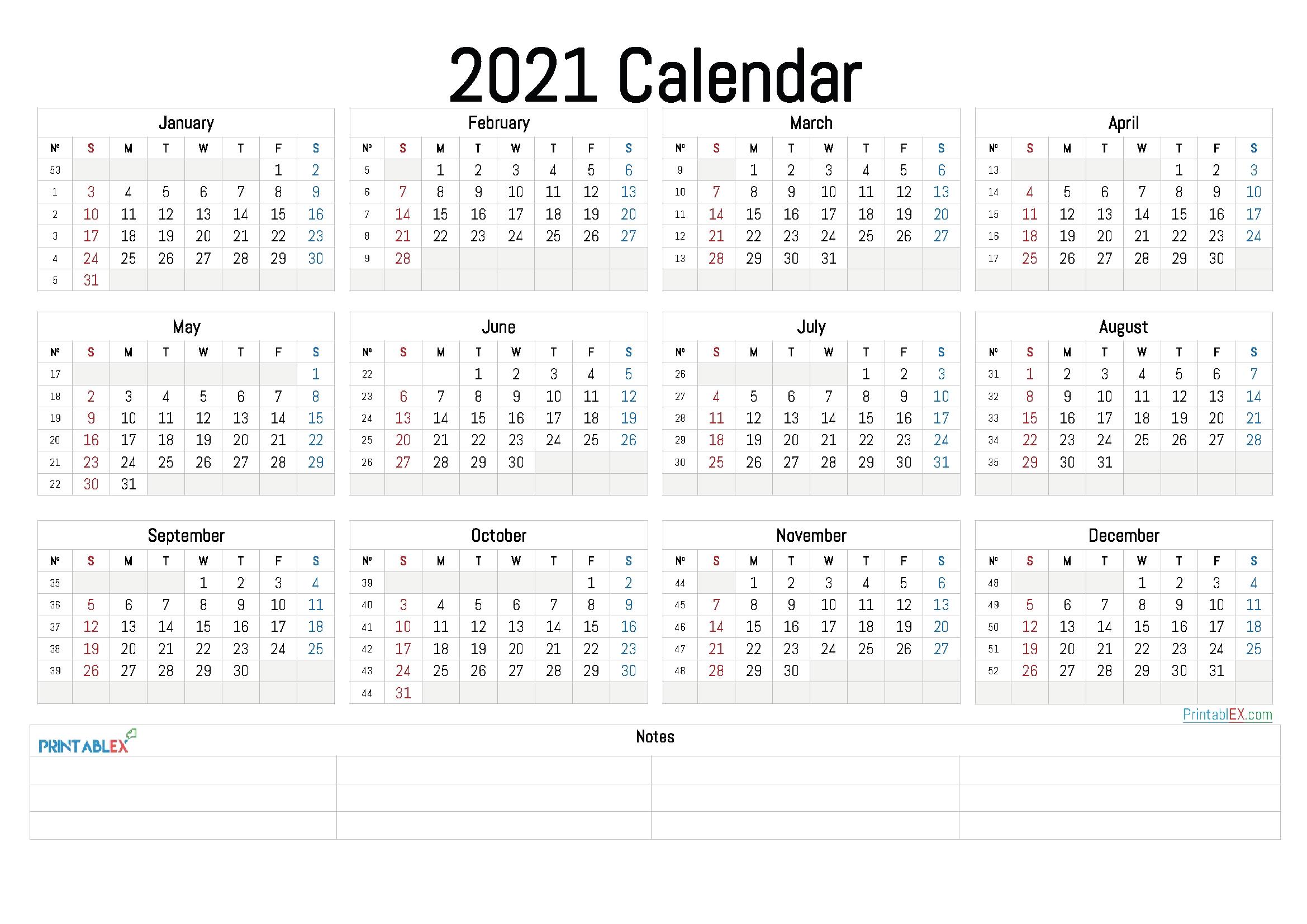2021 Annual Calendar Printable – 21Ytw5 – Free 2020 And 2021