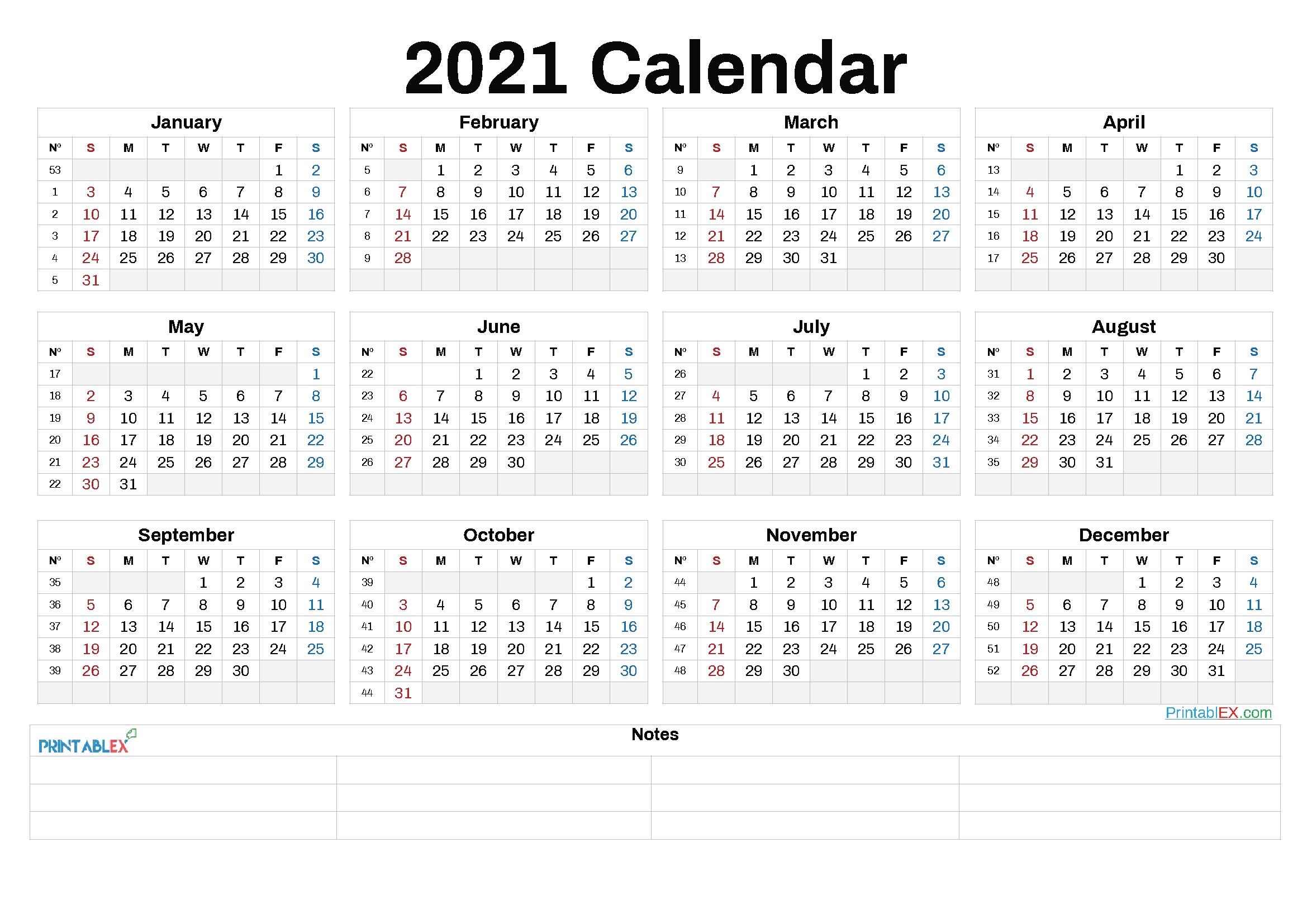 2021 Annual Calendar Printable – 21Ytw89 – Free 2020 And