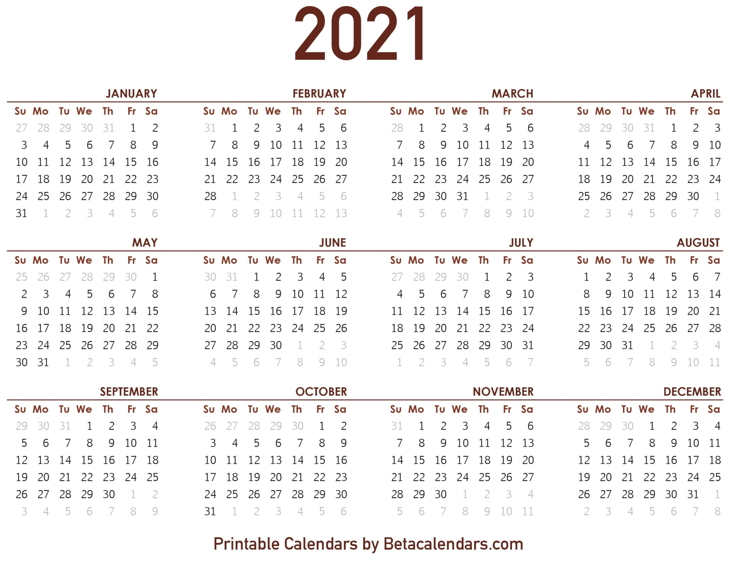Calendar Printouts For The Rest Of 2021