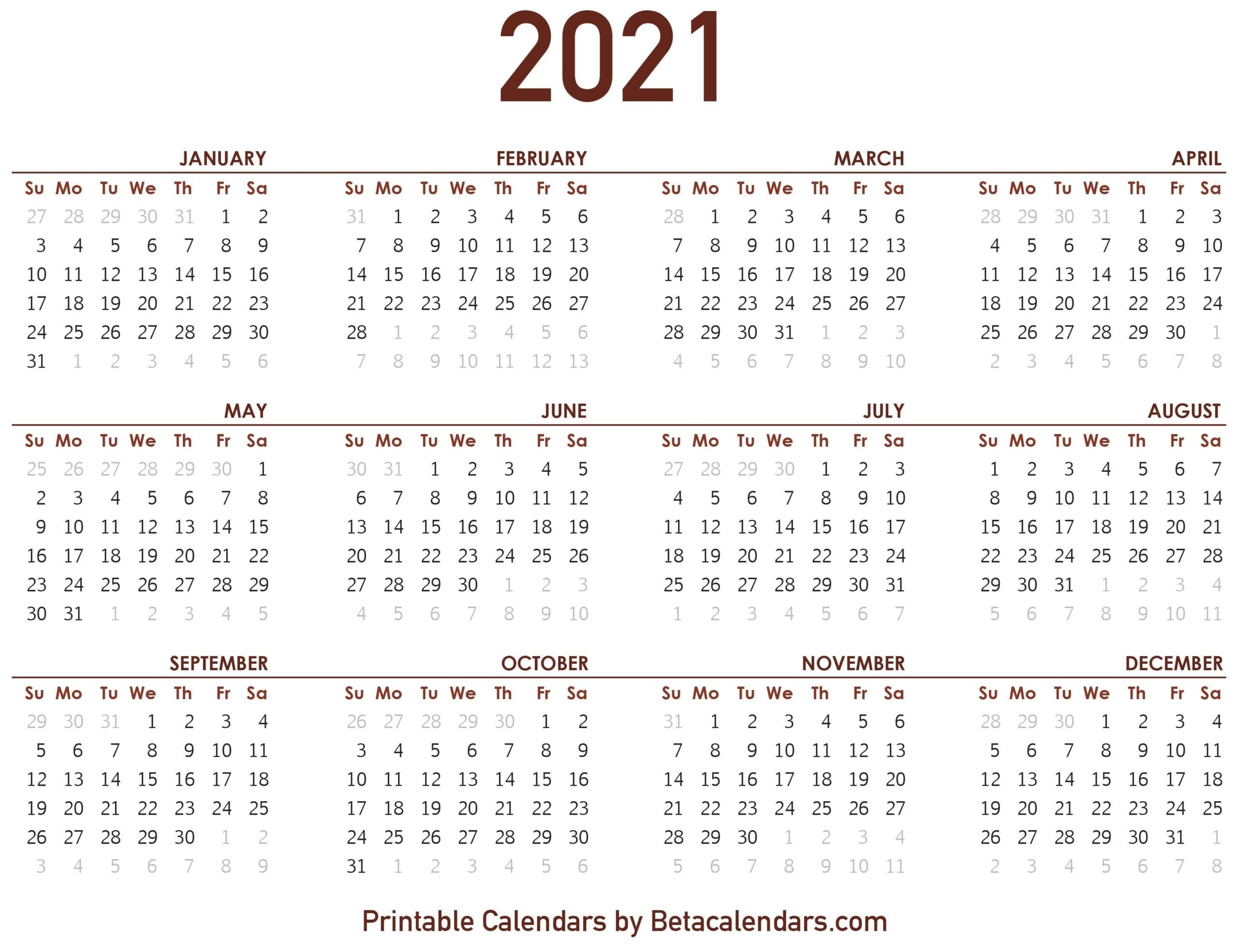 2021 Calendar - Beta Calendars