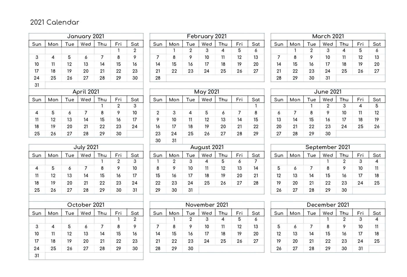 2021 Calendar Excel   Google Sheet Blank Template - Calendar Edu