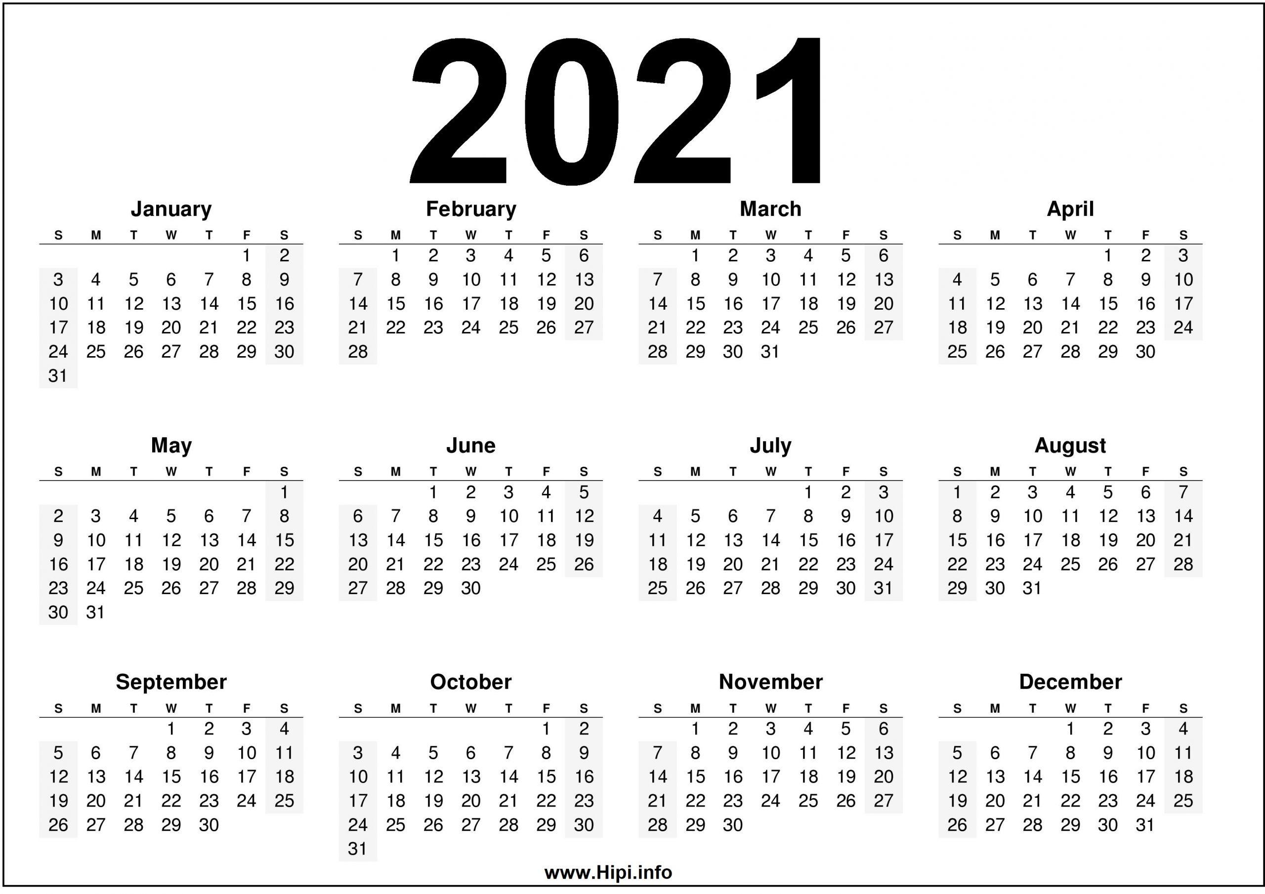 2021 Calendar Printable Free – Free Download - Hipi