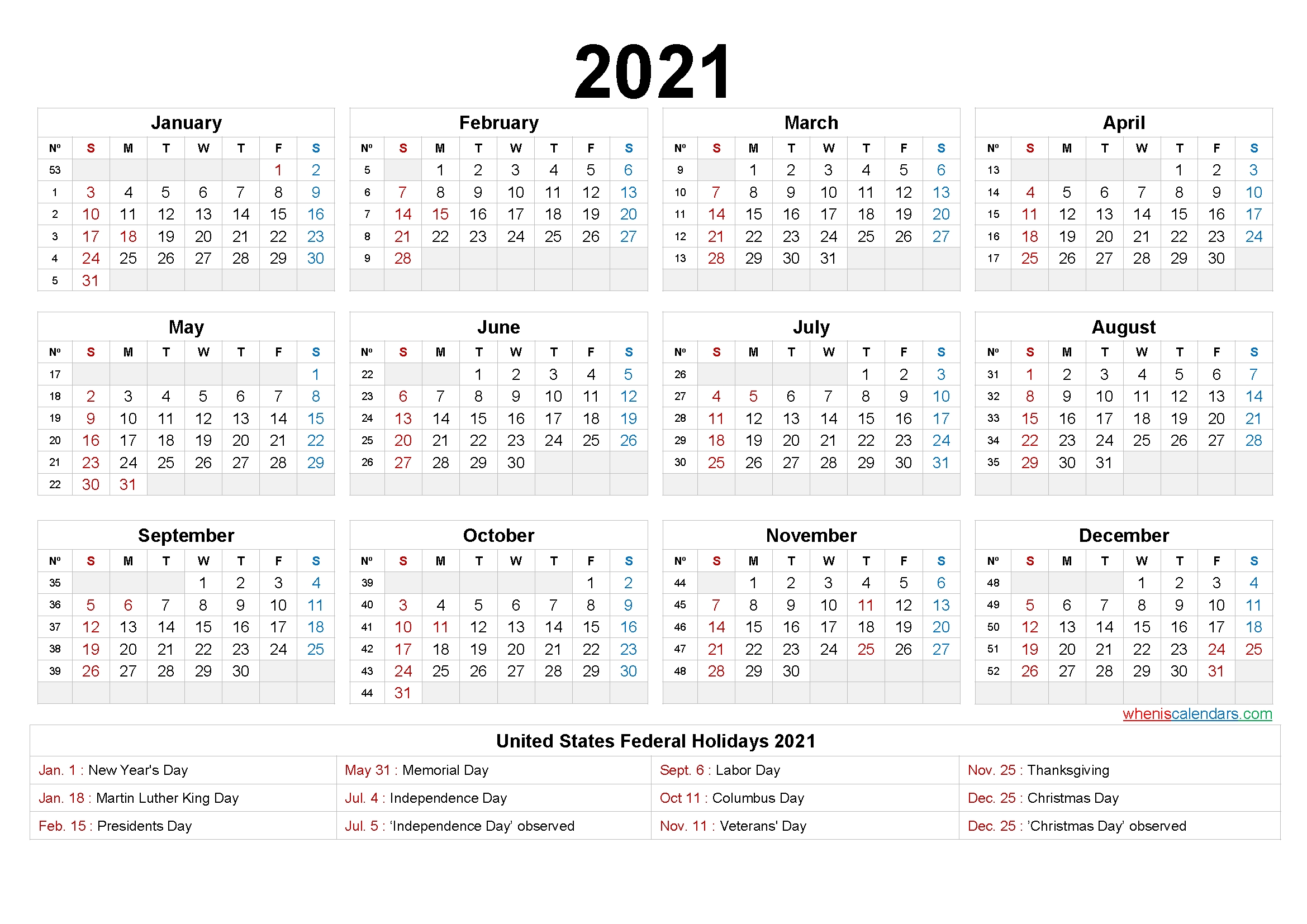 2021 Calendar Printable One Page – 6 Templates – Free 2020
