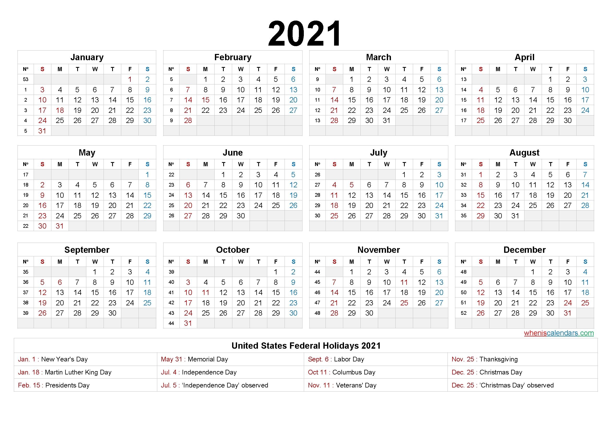 2021 Calendar Printable One Page – 6 Templates – Free 2020