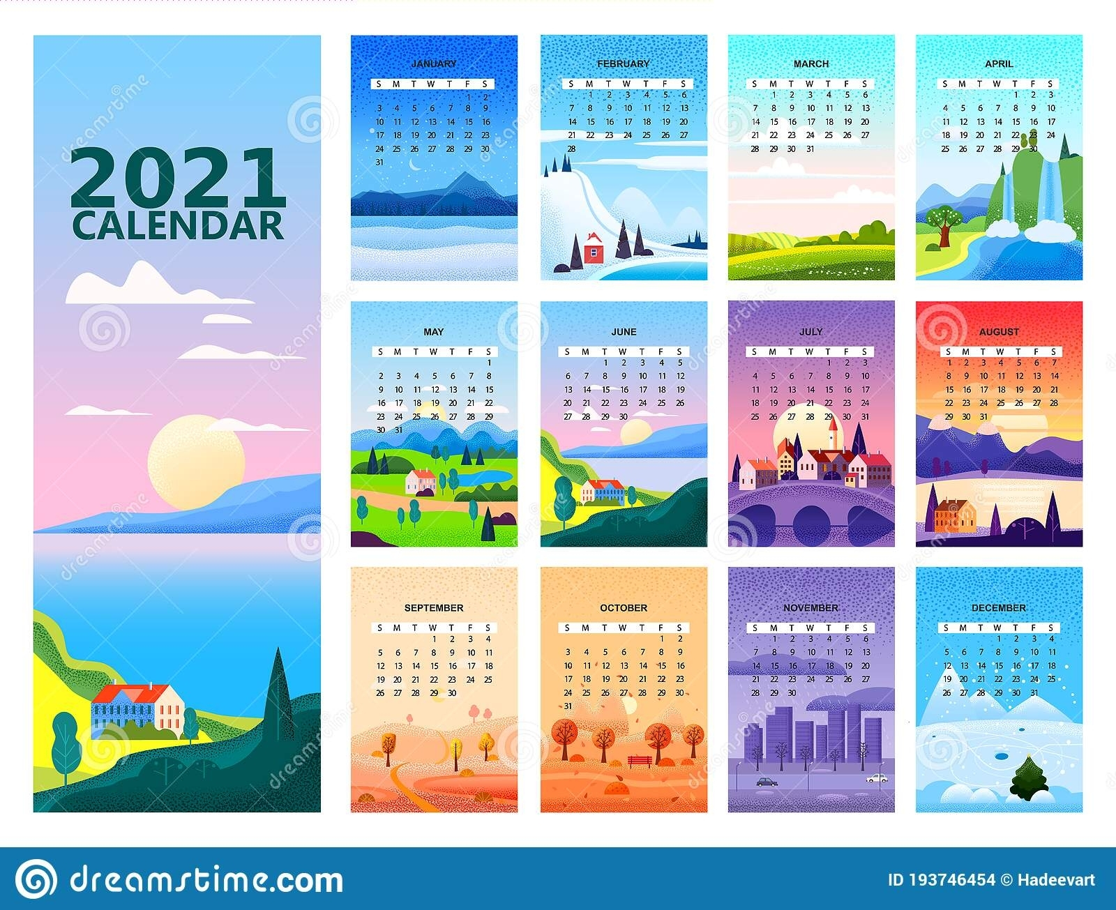 2021 Calendar Set Minimalistic Landscape Natural Backgrounds