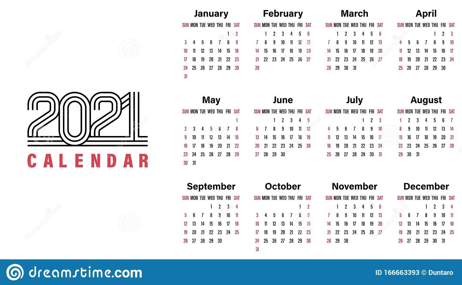 2021 Calendar Template Simple Design Stock Vector