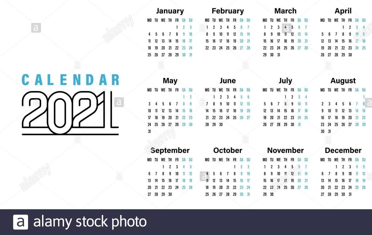 2021 Calendar Template Vector Illustration Simple Design