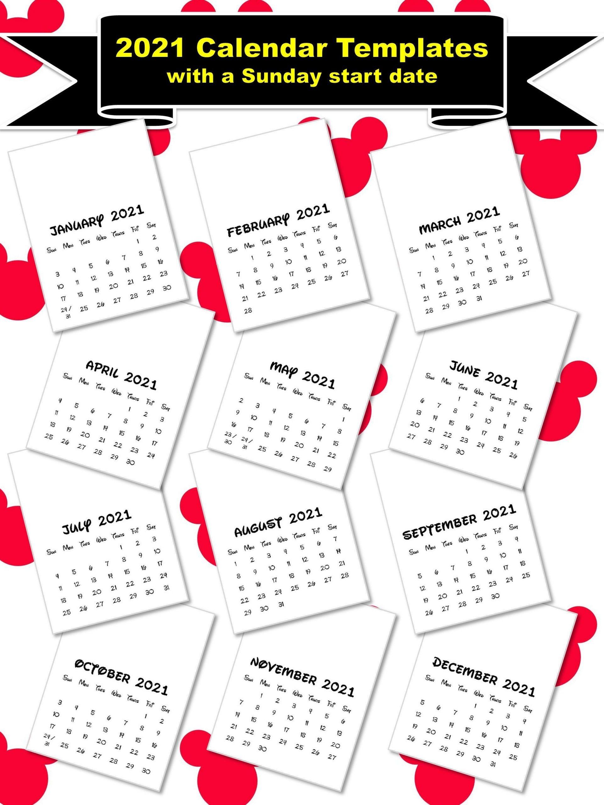 2021 Calendar Templates With A Sunday Start 8X11 | Etsy