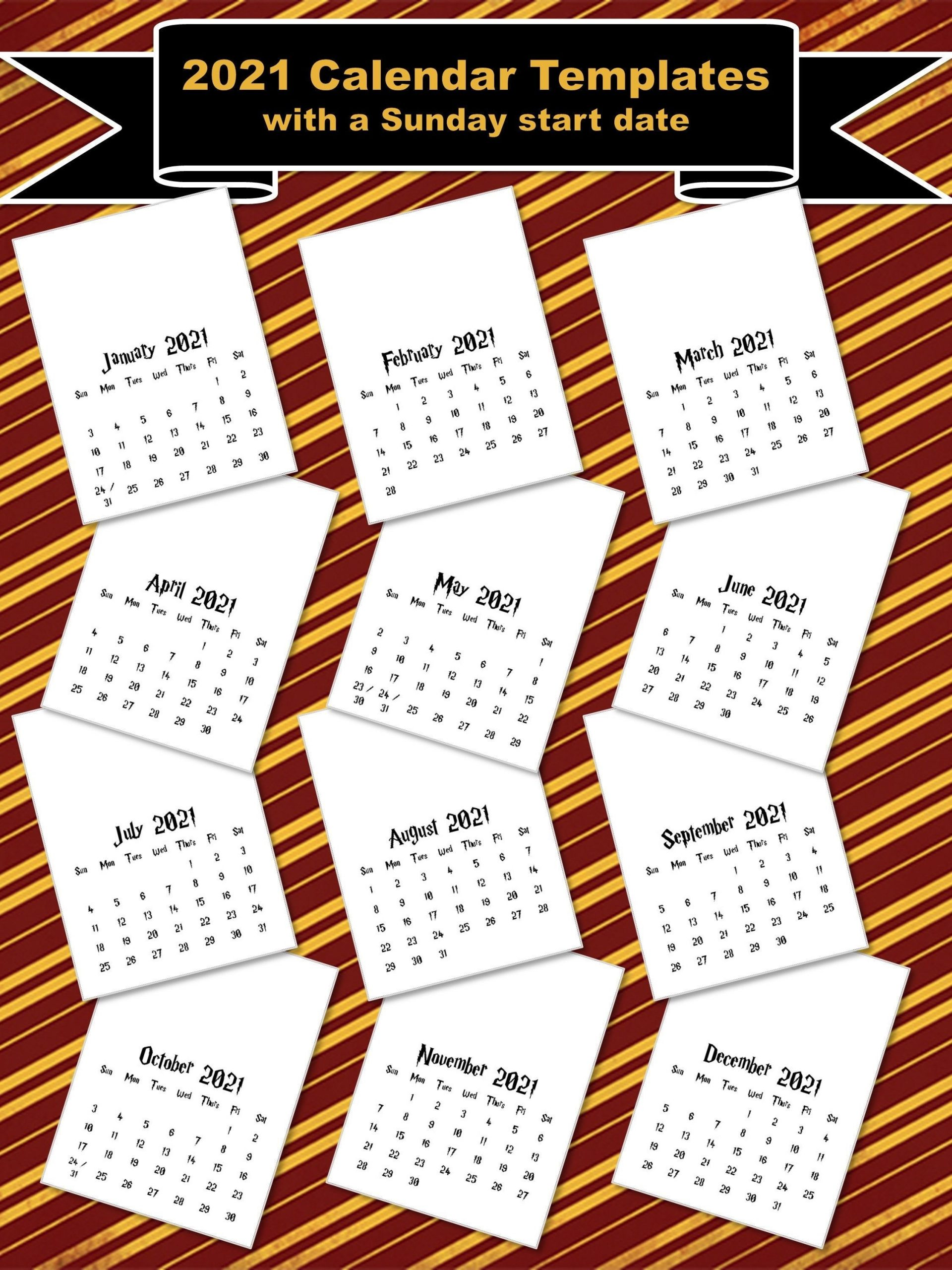 2021 Calendar Templates With Sunday Start 8X11 | Etsy In