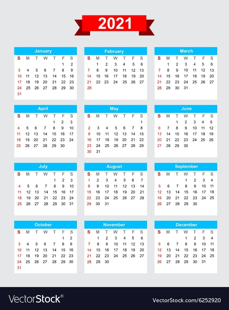 2021 Calendar Week Start Sunday Royalty Free Vector Image