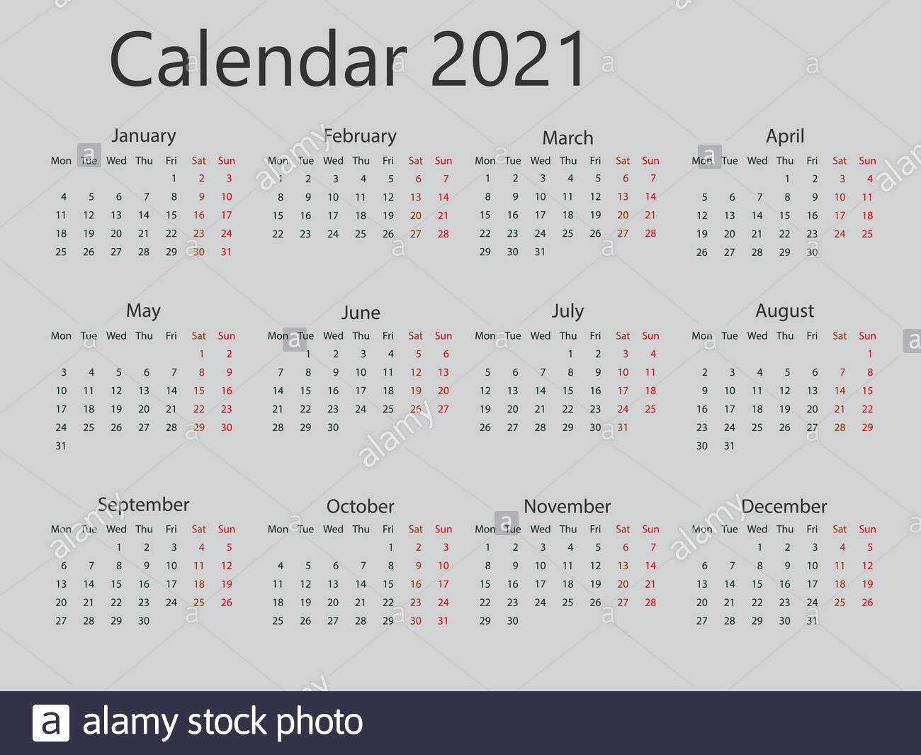2021 Calendar, Week Starts Monday. Vector Illustration, Flat