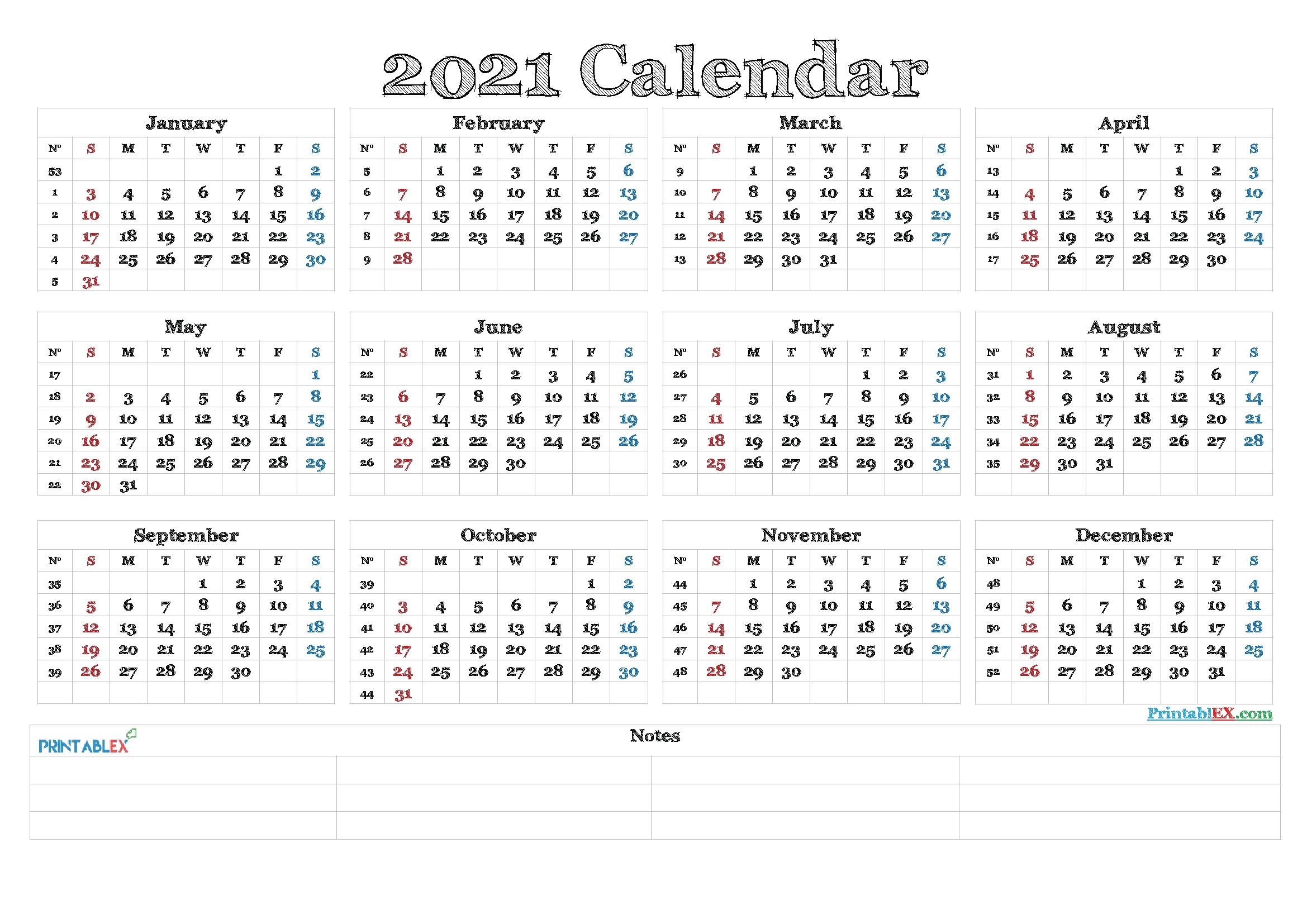 2021 Calendar With Week Numbers Printable – 21Ytw82 – Free