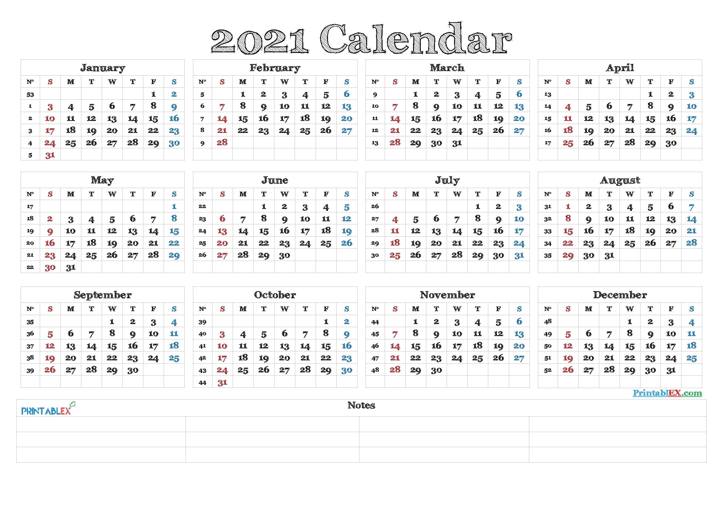 2021 Calendar With Week Numbers Printable – 21Ytw82 – Free