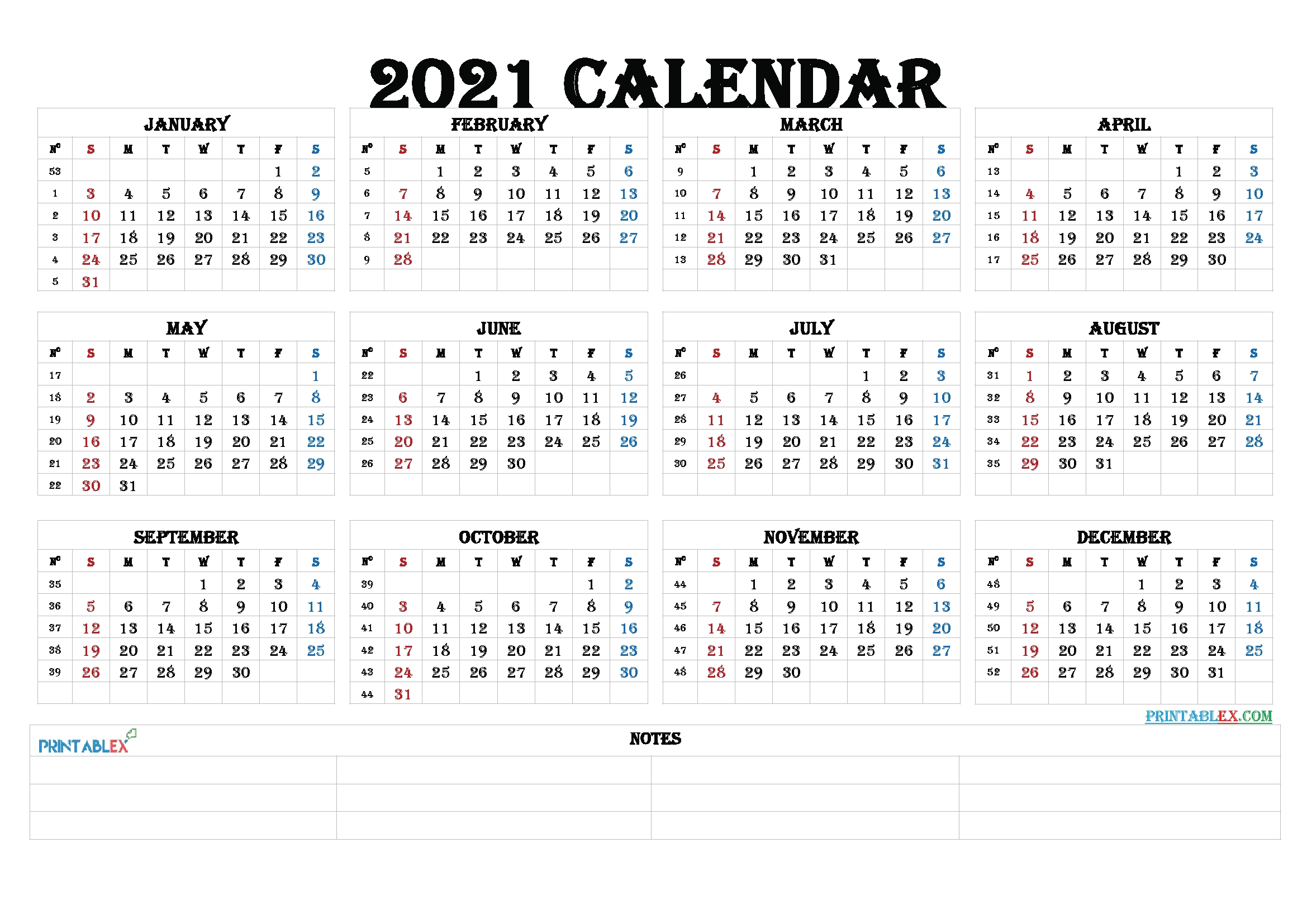 2021 Calendar With Week Numbers Printable – Free Printable 2020