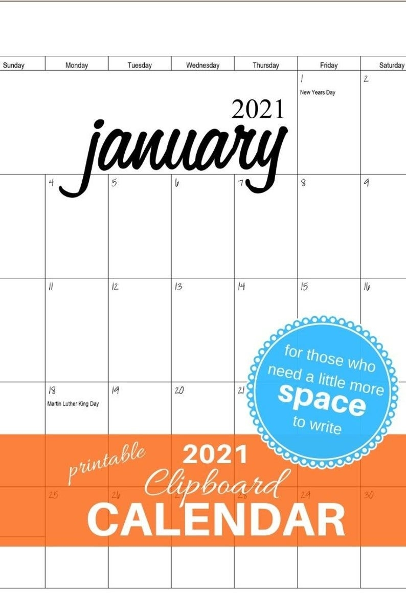 2021 Clipboard Calendar - Printable Pdf File In 2020