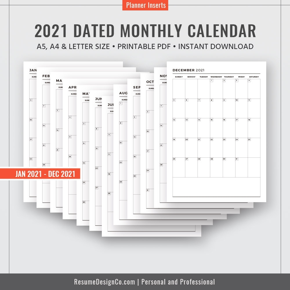 2021 Dated Monthly Calendar, 12 Months, Monthly Planner, Calendar 2020, A4,  A5, Letter Size, Filofax A5, Printable Planner Inserts, Instant Download