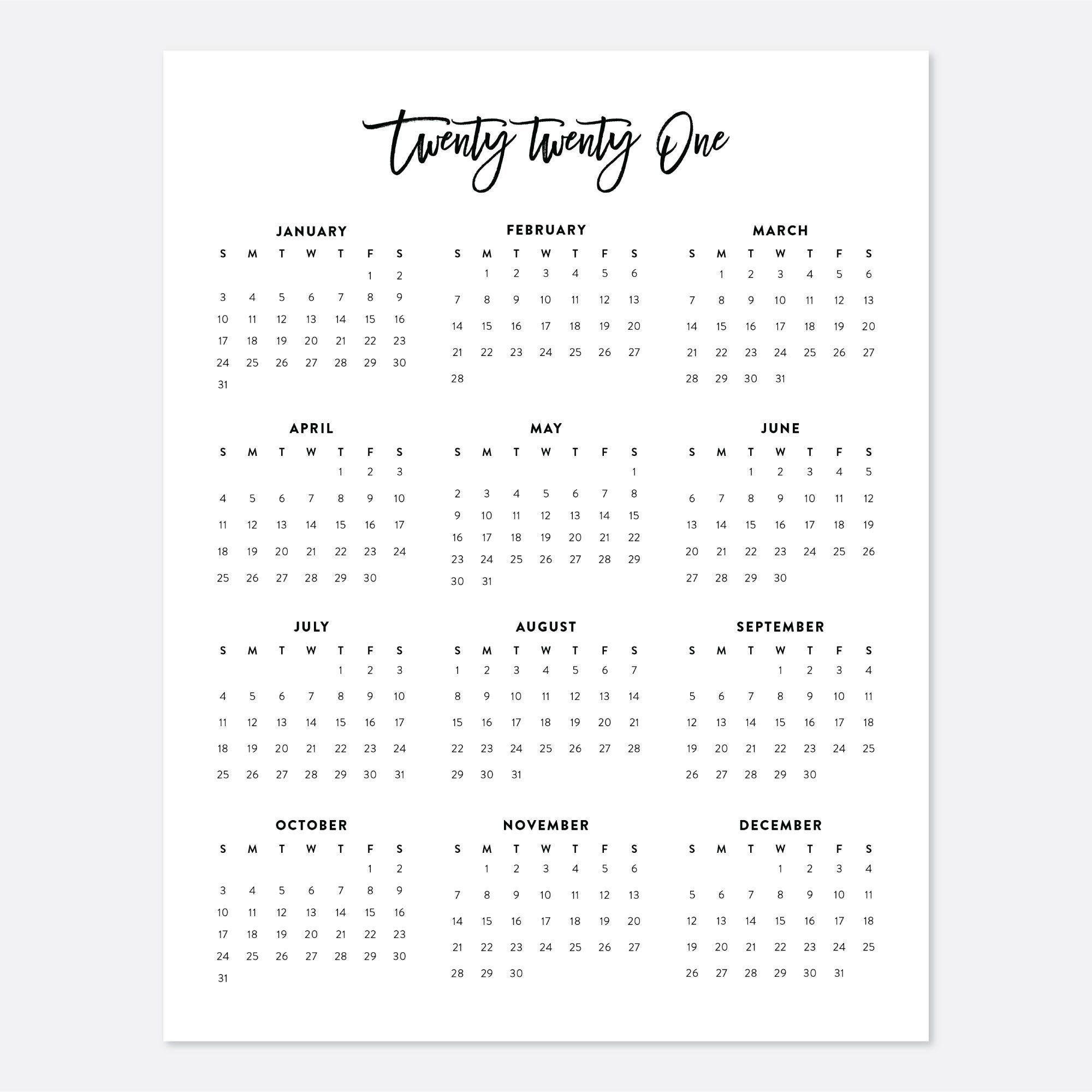 2021 Desk Calendar Printable Calendar 2021 Calendar Year