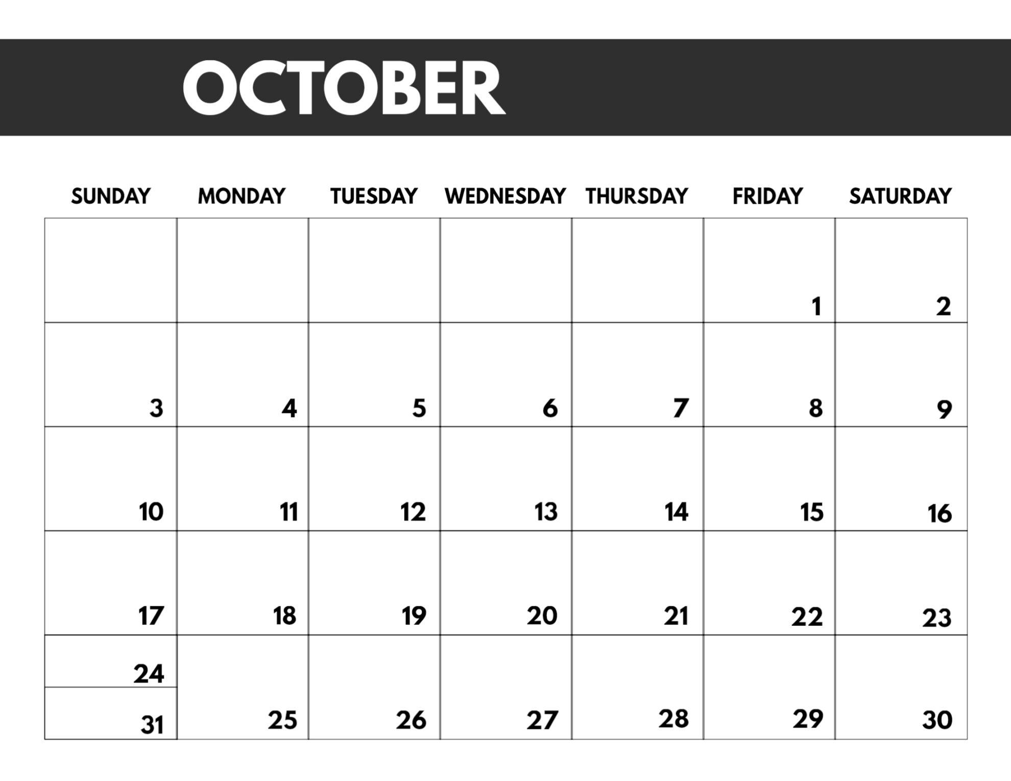 8.5 X 11 October 2021 Calendar Free