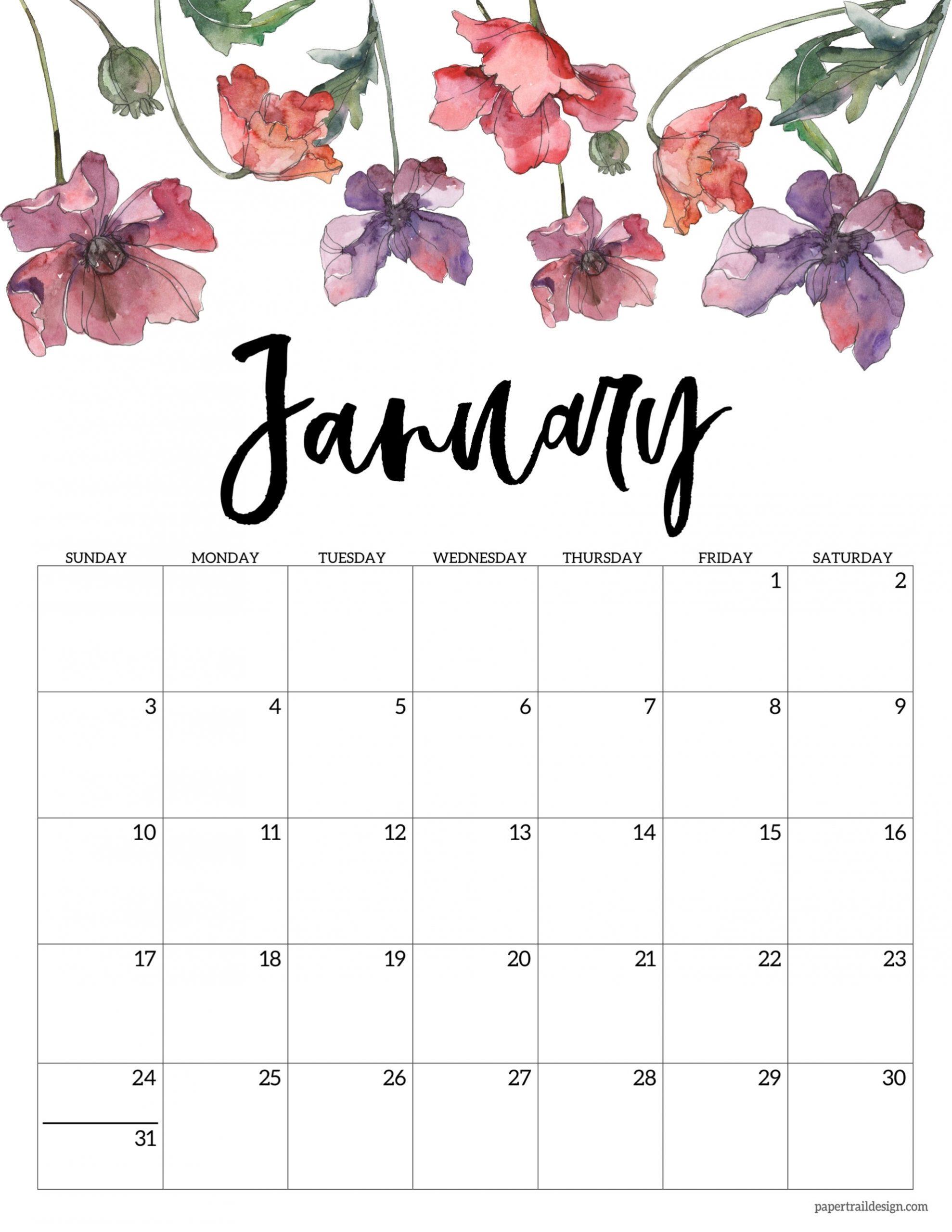 2021 Free Printable Calendar - Floral | Paper Trail Design