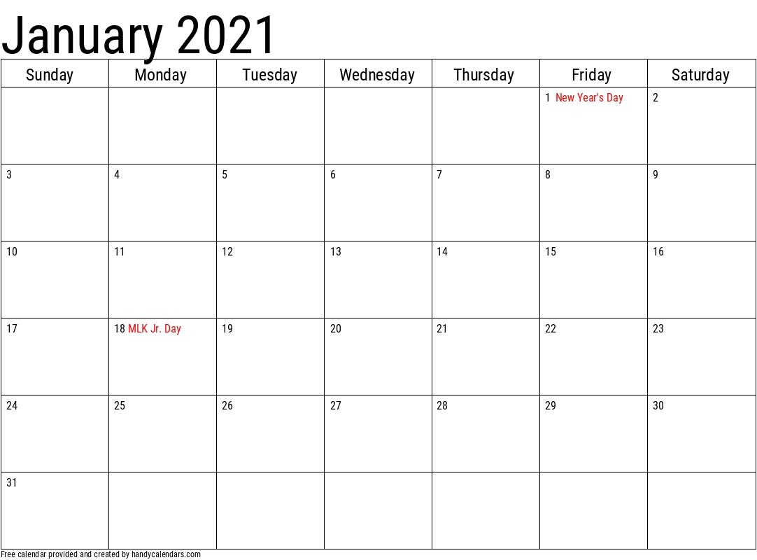 2021 January Calendars - Handy Calendars