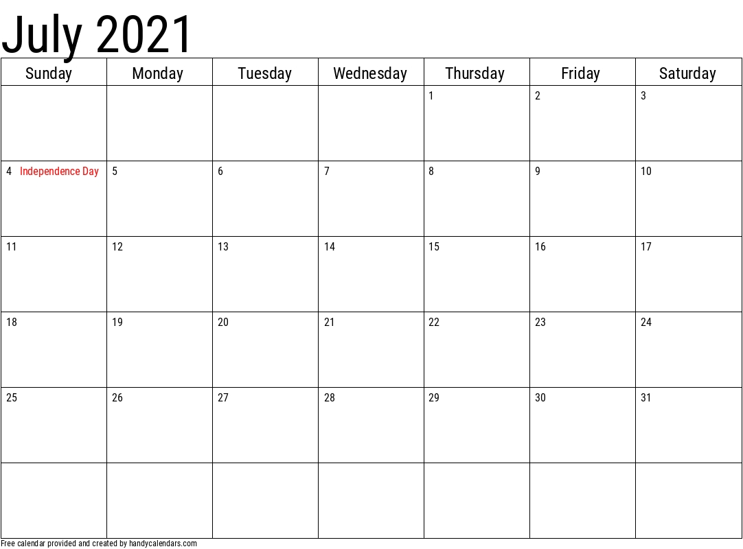 2021 July Calendars - Handy Calendars