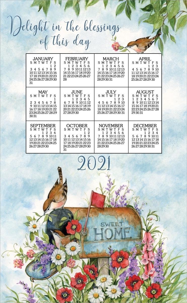 2021-Kay Dee Calendar Towel - Floral Mailbox