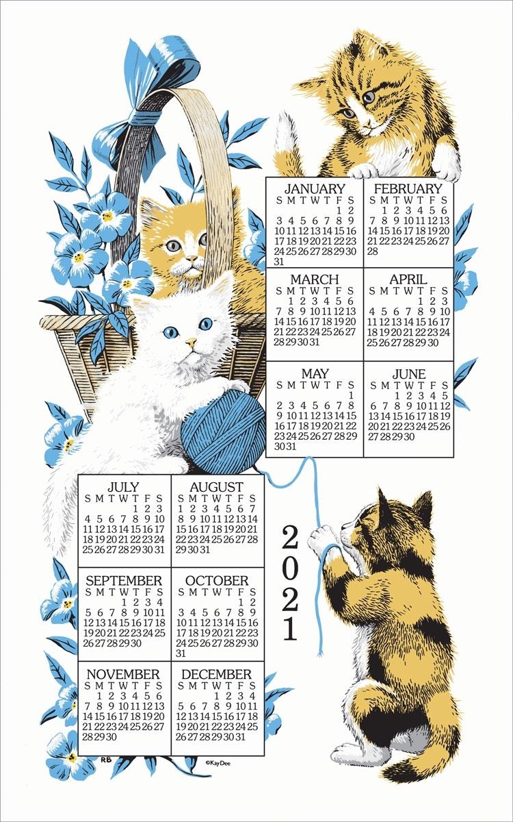 2021 Linen Calendar Towel - Curious Kittens - Walmart