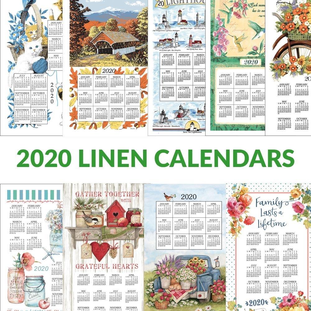 2021 Linen Calendar Towel In 2020 | Linen, Hanging Calendar