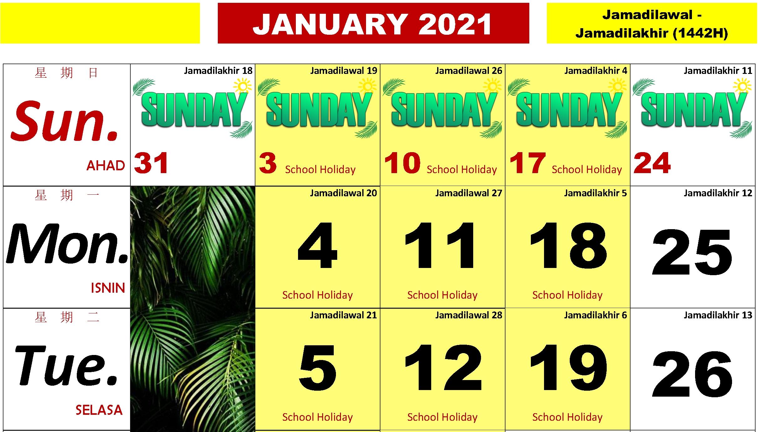2021 Malaysian Horse Calendar (With School Holidays