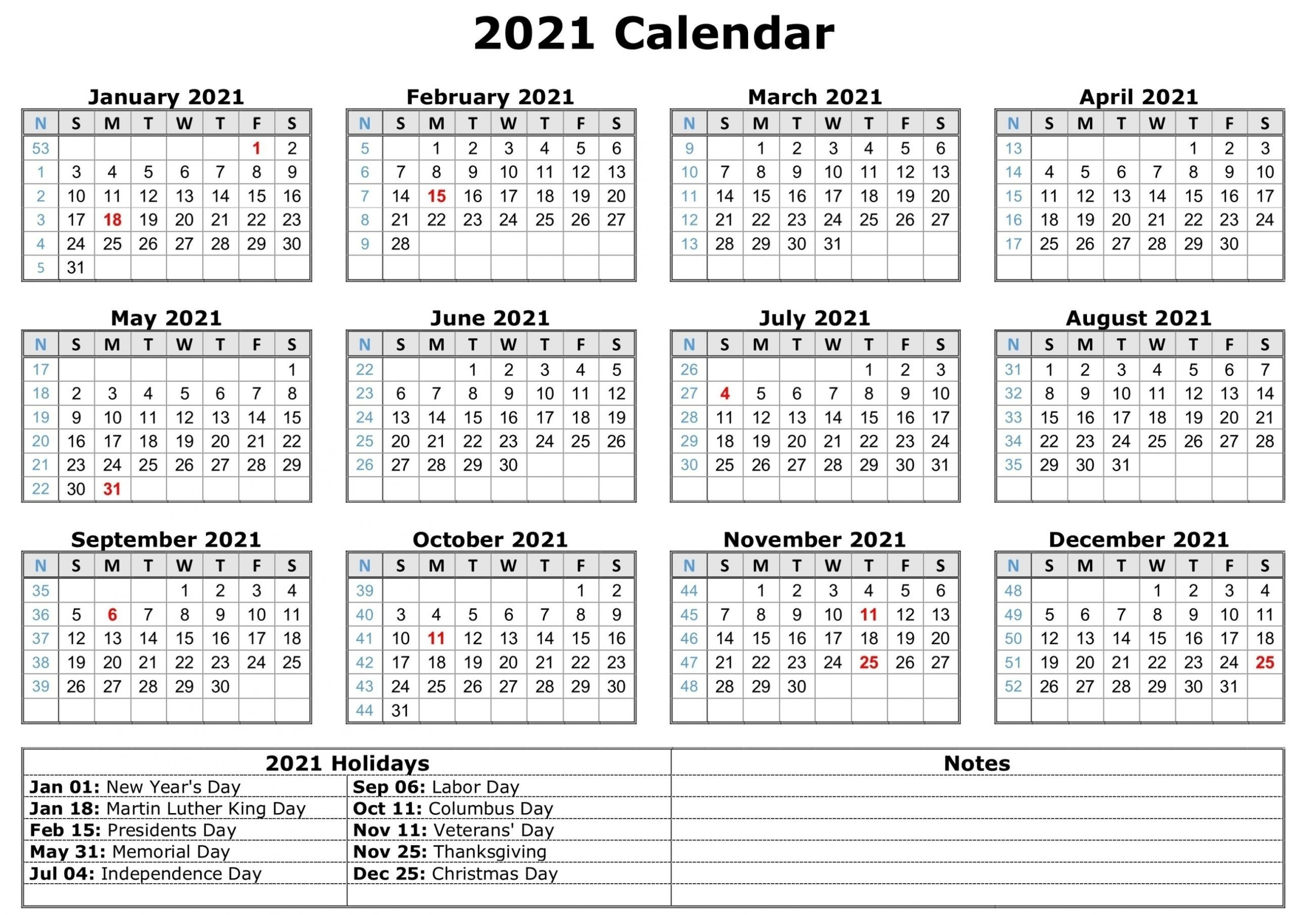 2021 Monthly Calendar With Holidays In 2020 | Free Calendar