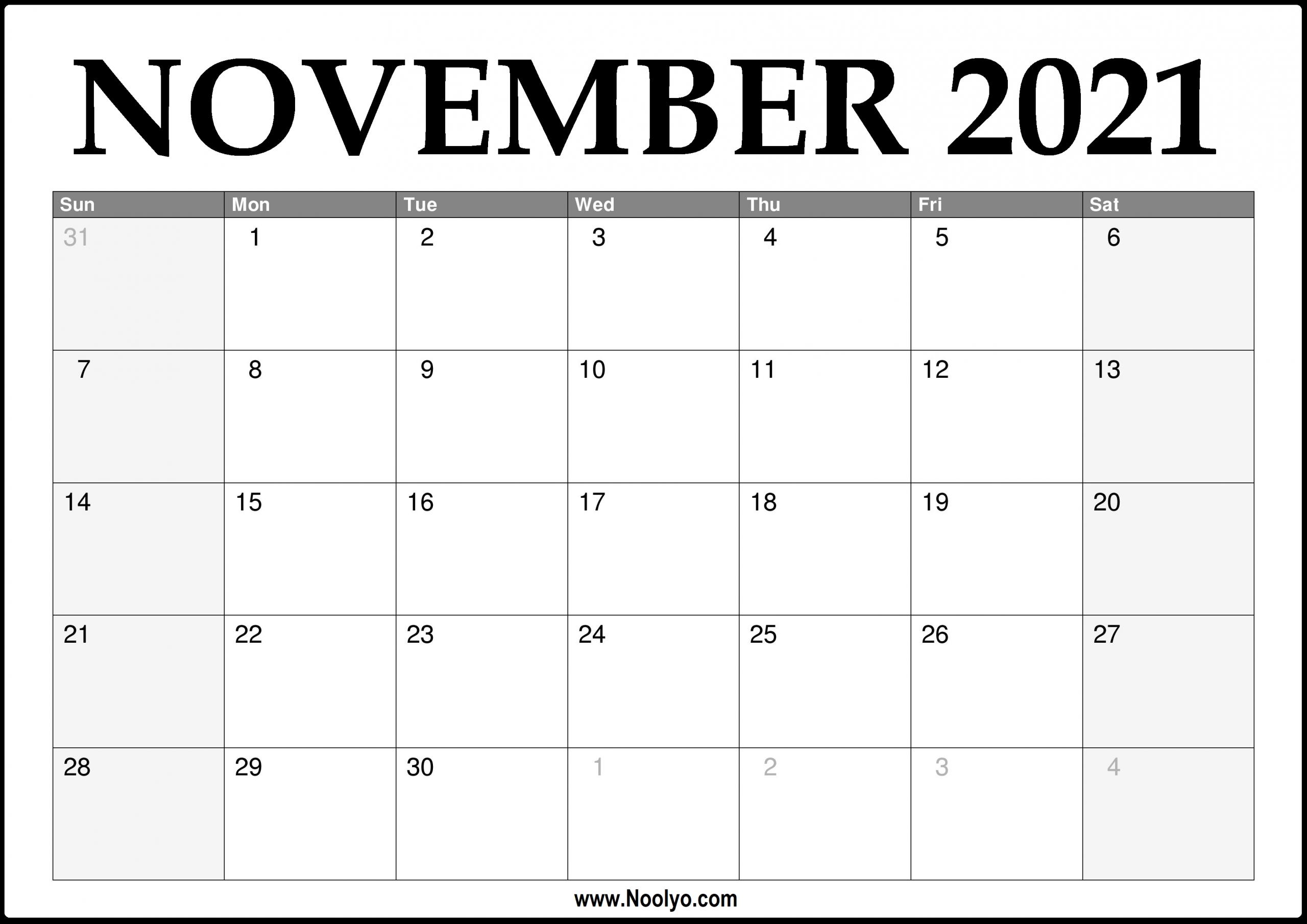 2021 November Calendar Printable – Download Free – Noolyo