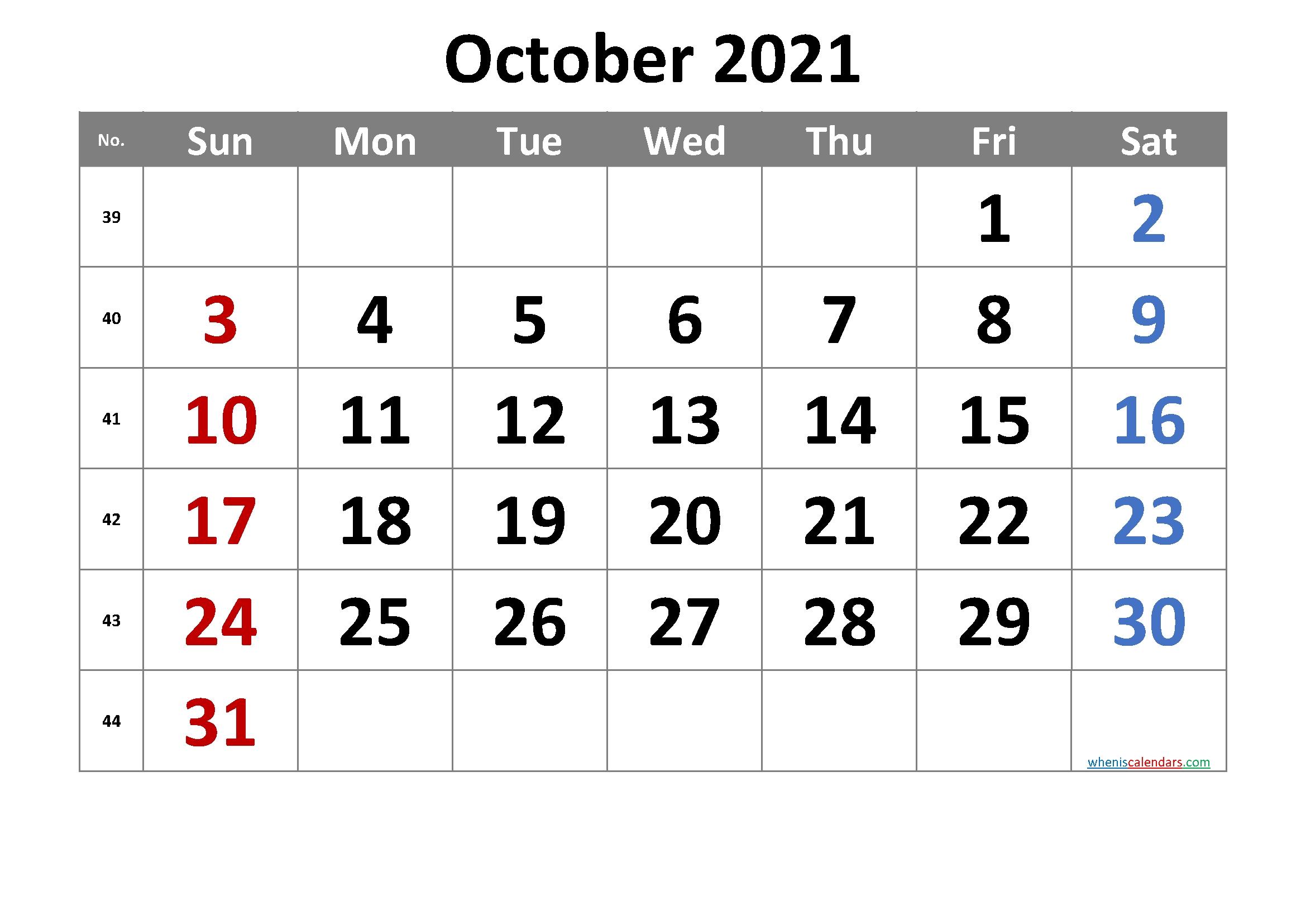 2021 October Free Printable Calendar [Free Premium] – Free