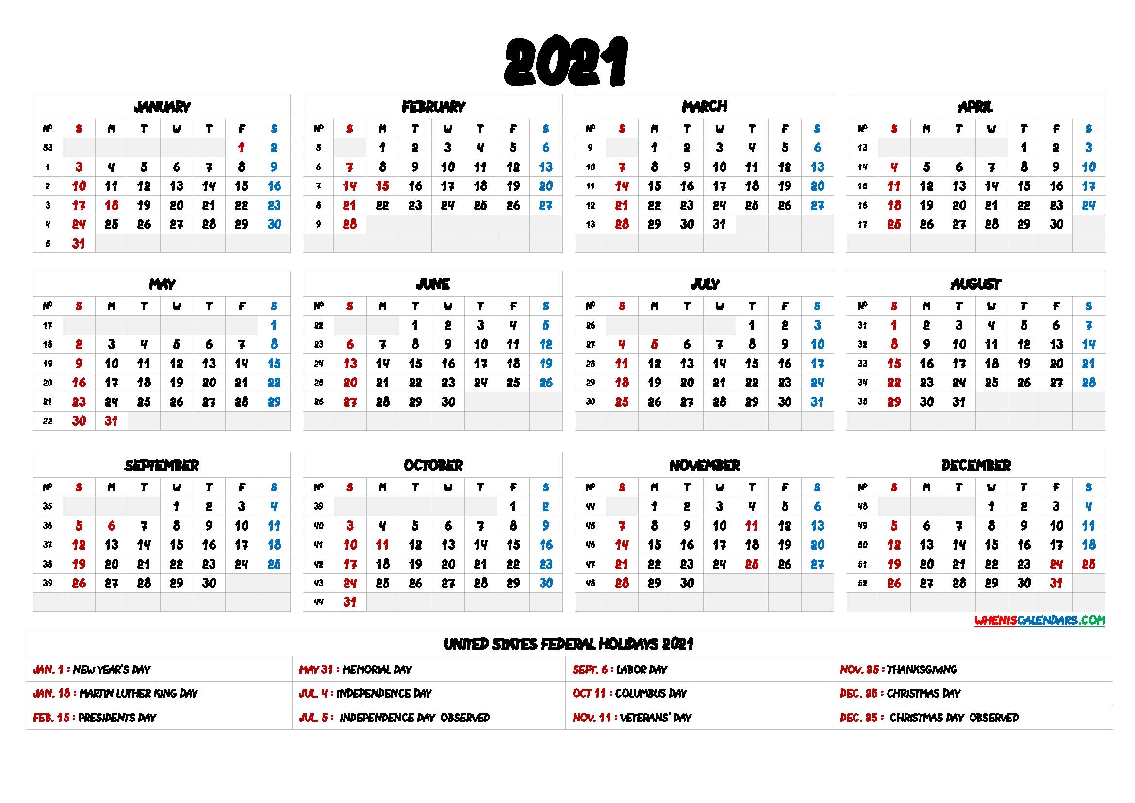 2021 One Page Calendar Printable – 9 Templates – Free 2020