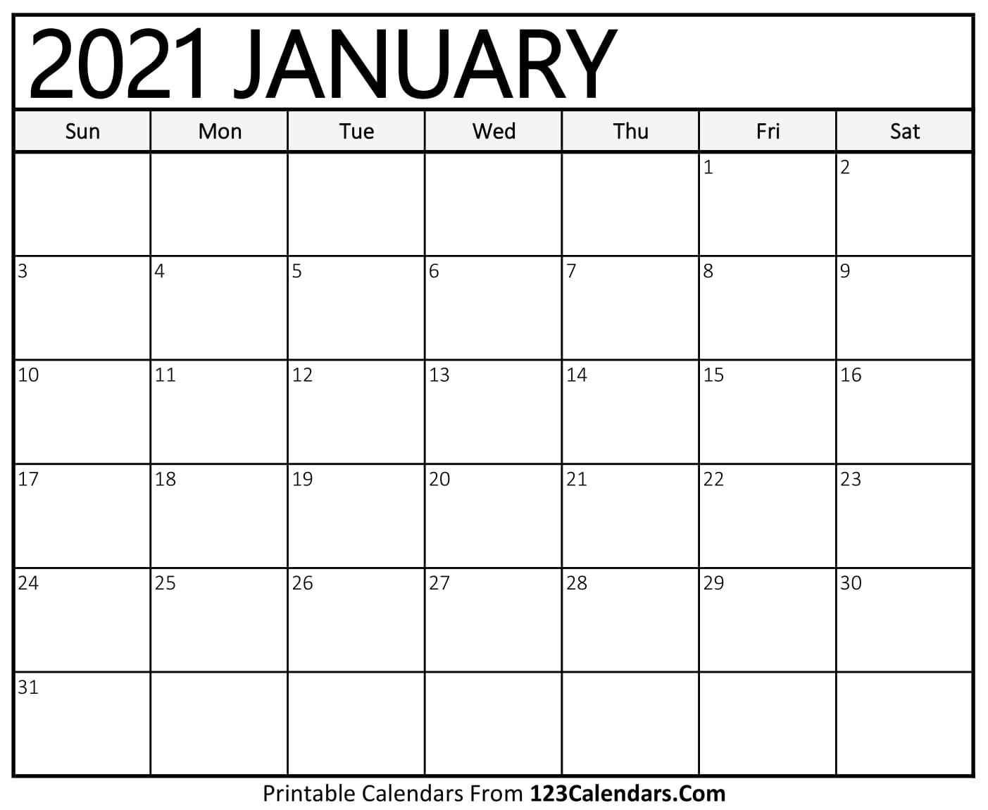 2021 Calendar Write In