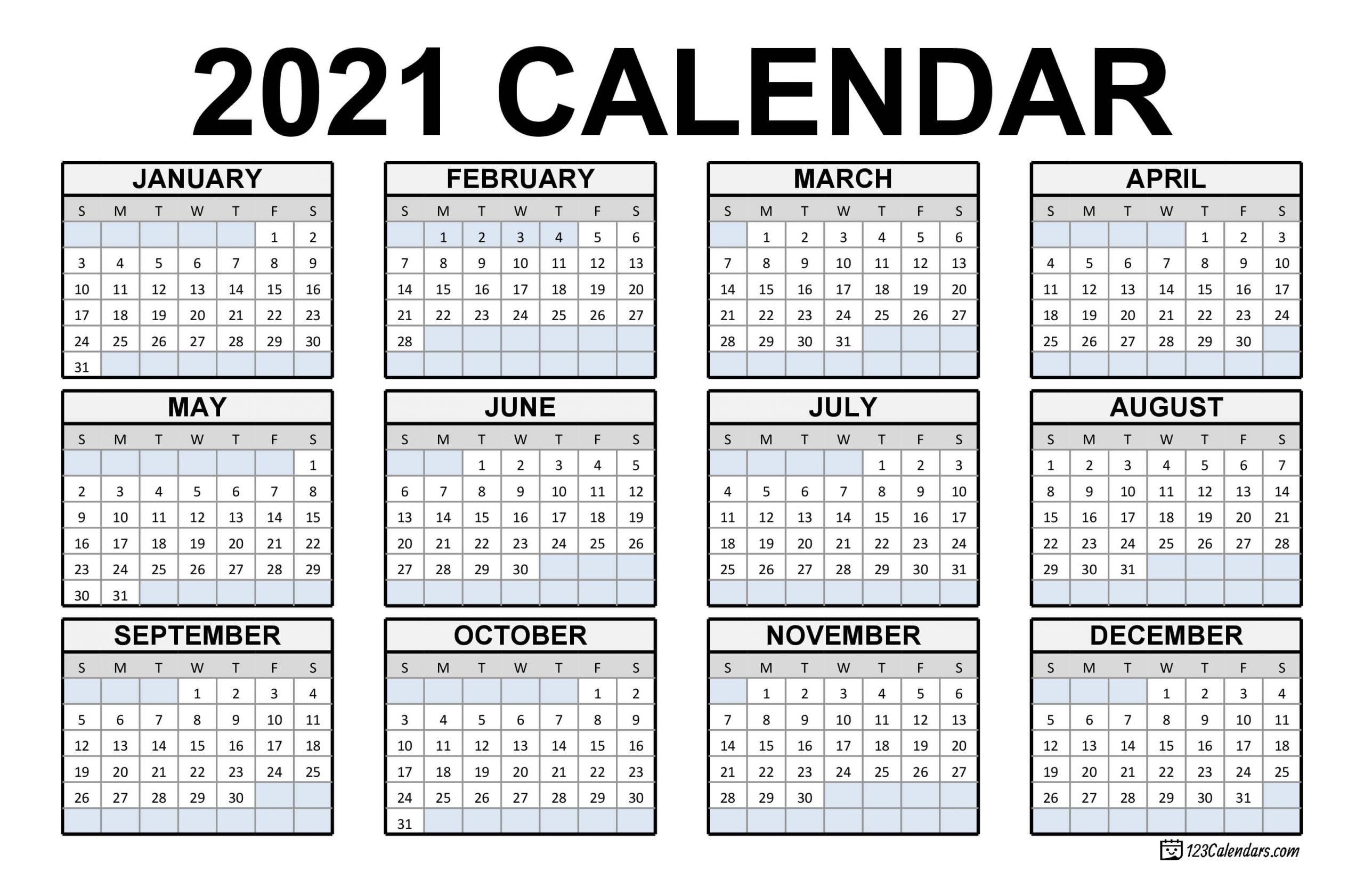 2021 Printable Calendar | 123Calendars