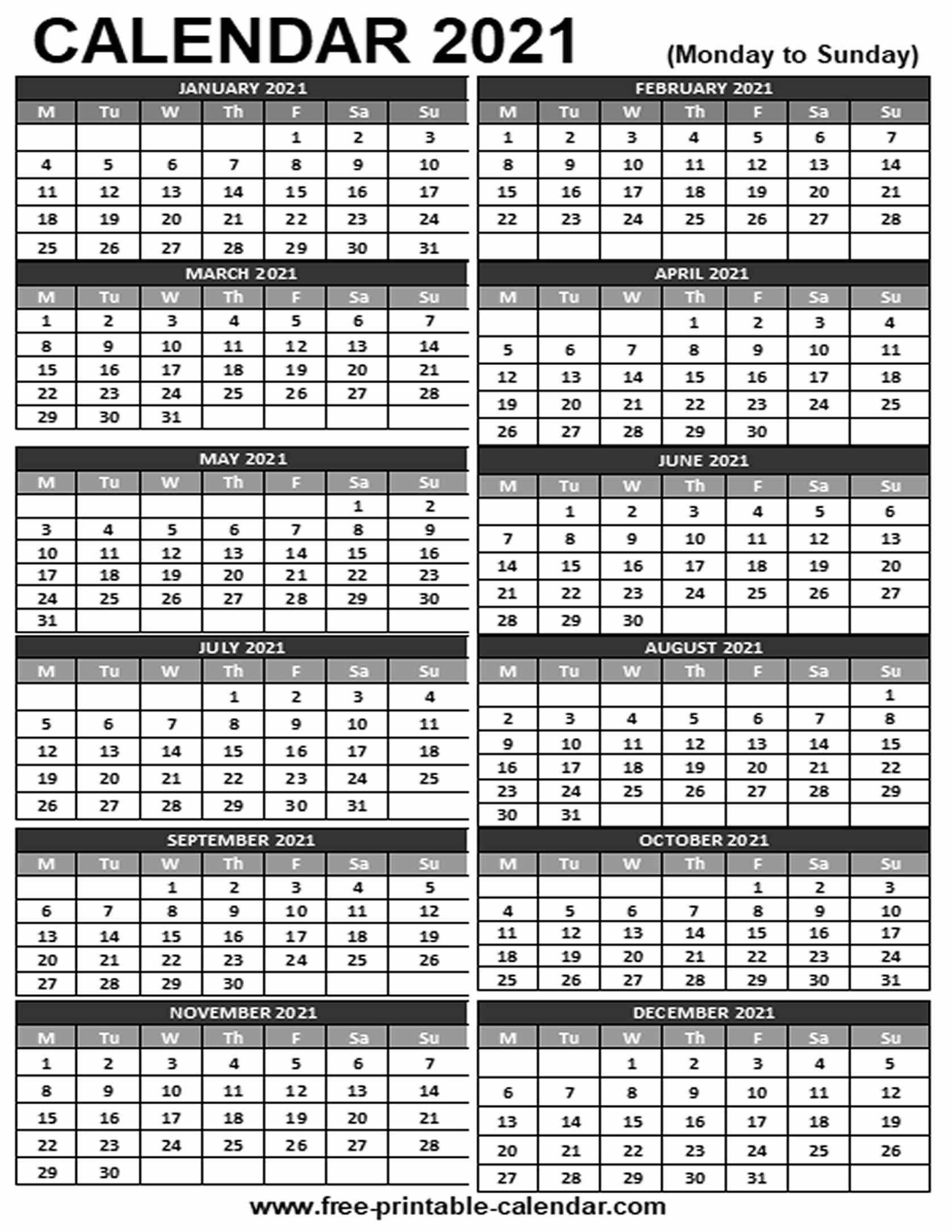 2021 Printable Calendar - Free-Printable-Calendar