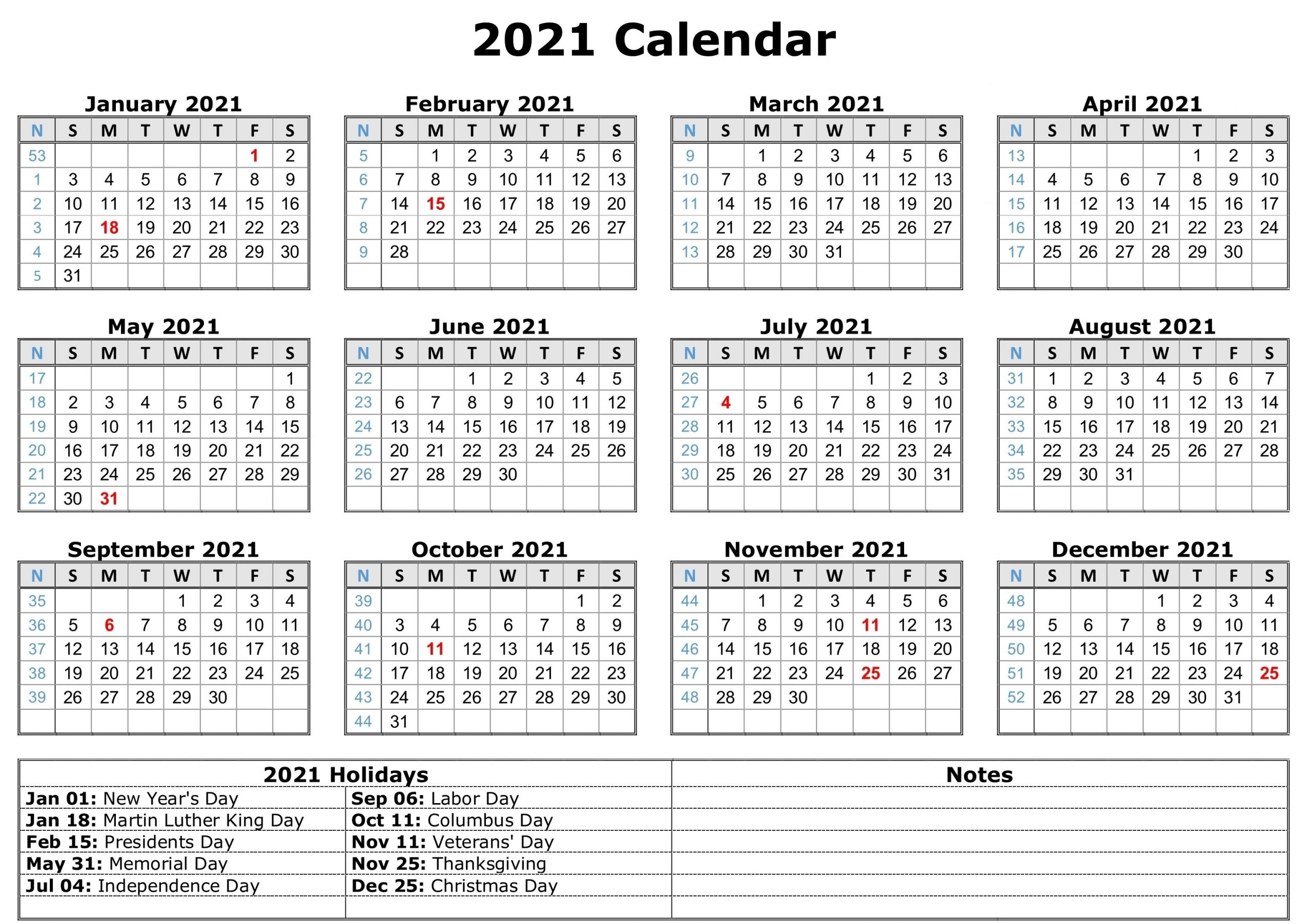 2021 Printable Calendar With Holidays | Free Printable