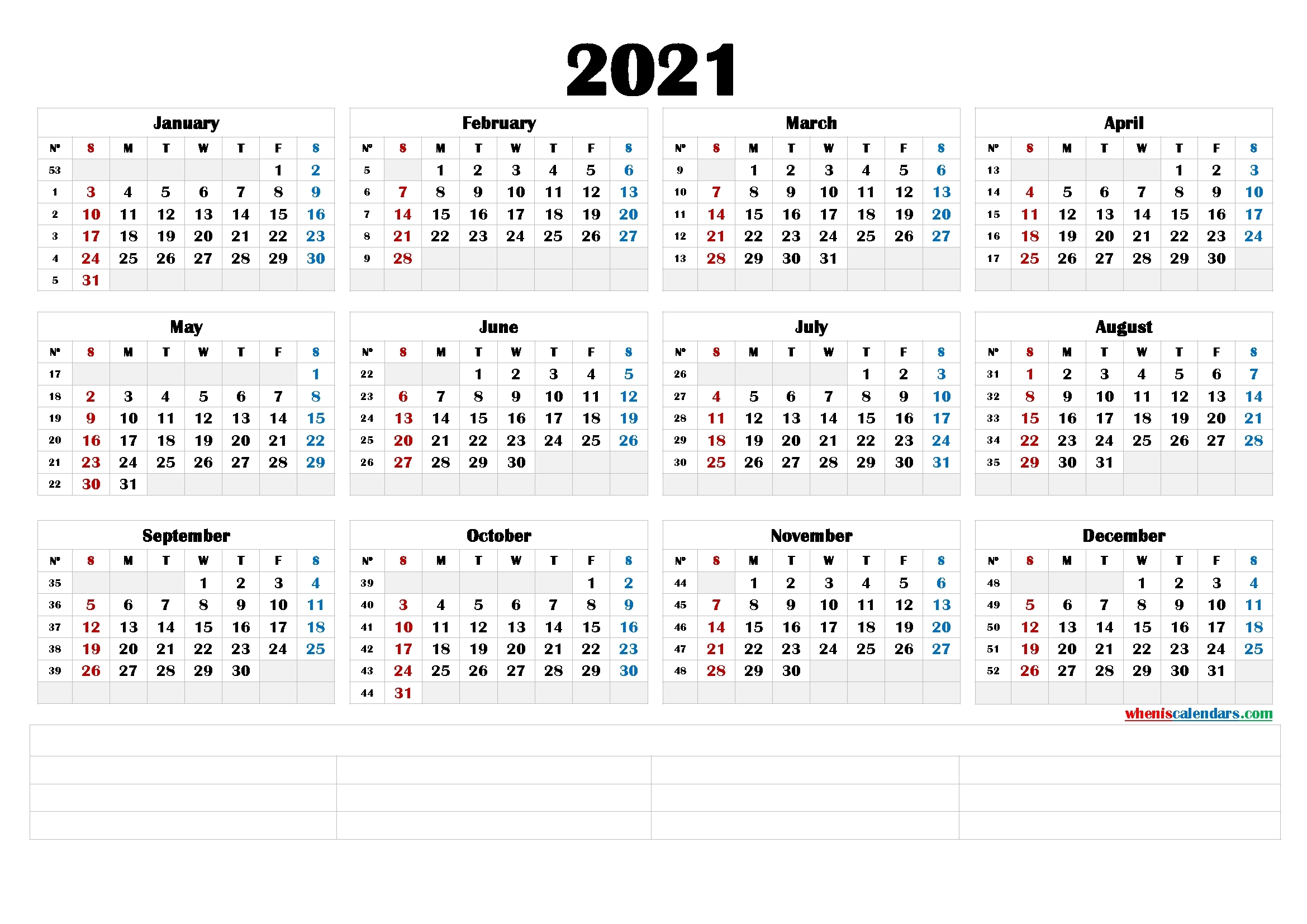 2021 Printable Yearly Calendar With Week Numbers (6