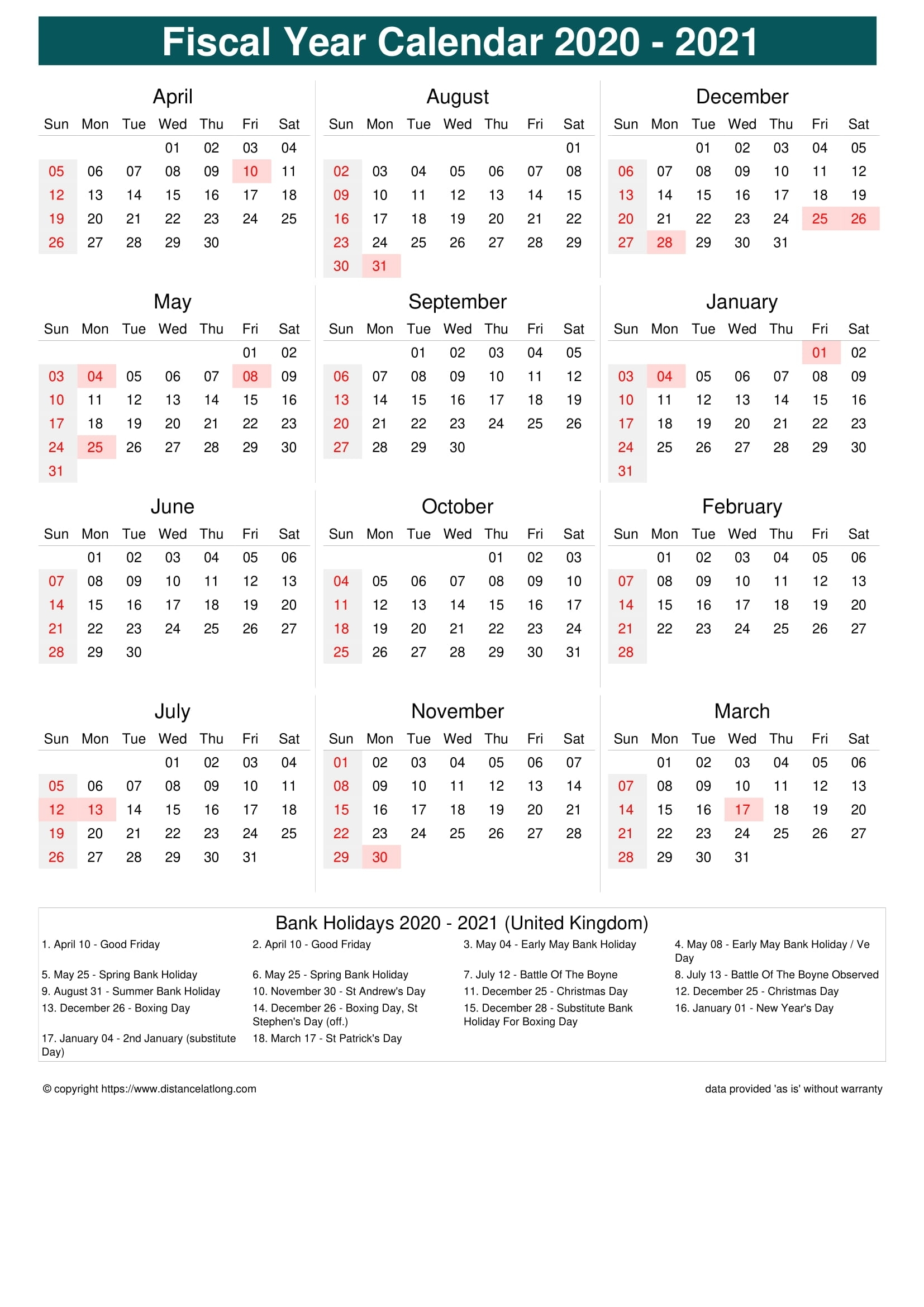 2021 United Kingdom Fiscal Calendar United Kingdom Fiscal